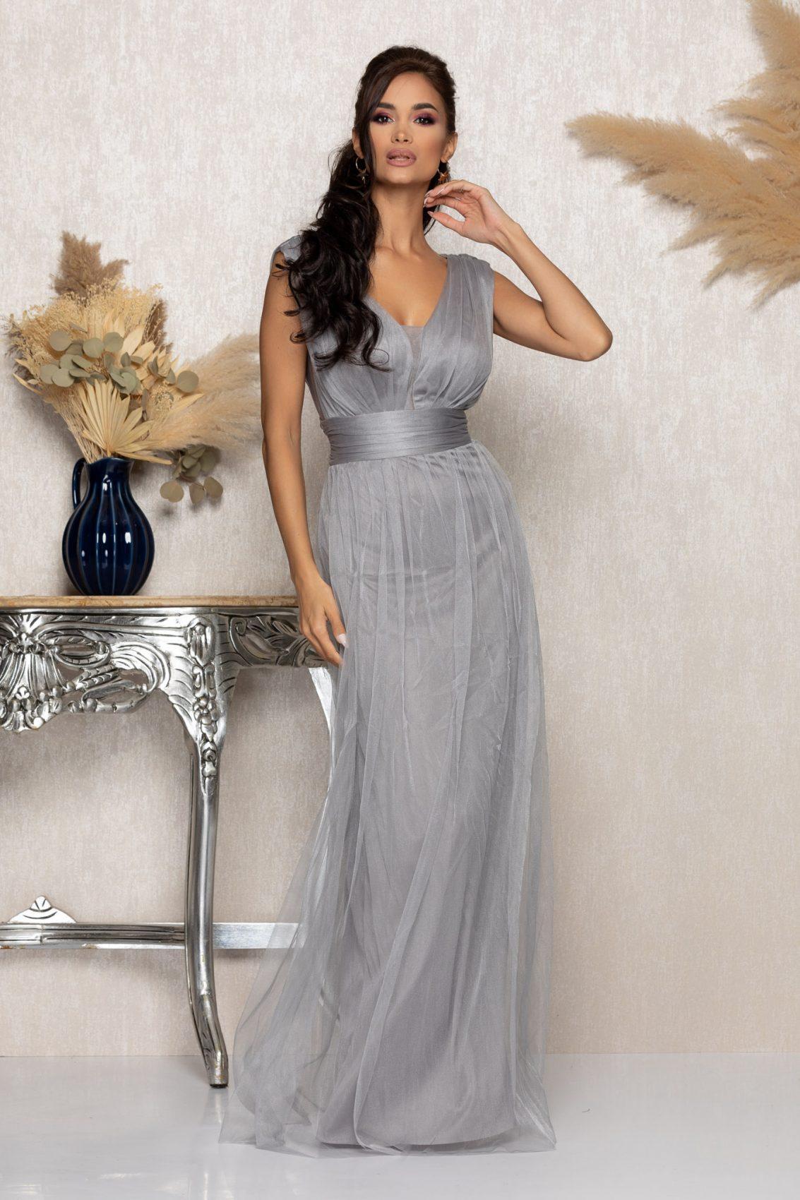 Γκρι Μάξι Αμπιγιέ Φόρεμα Senzation A1025 1