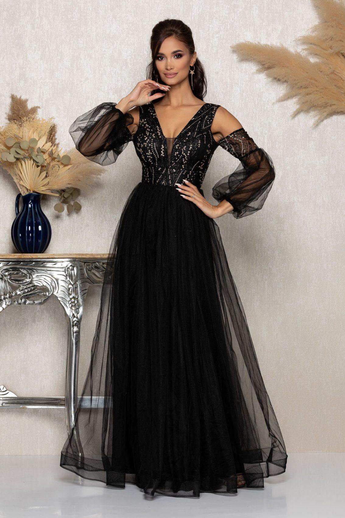 Μαύρο Μάξι Αμπιγιέ Φόρεμα Glow A993 1