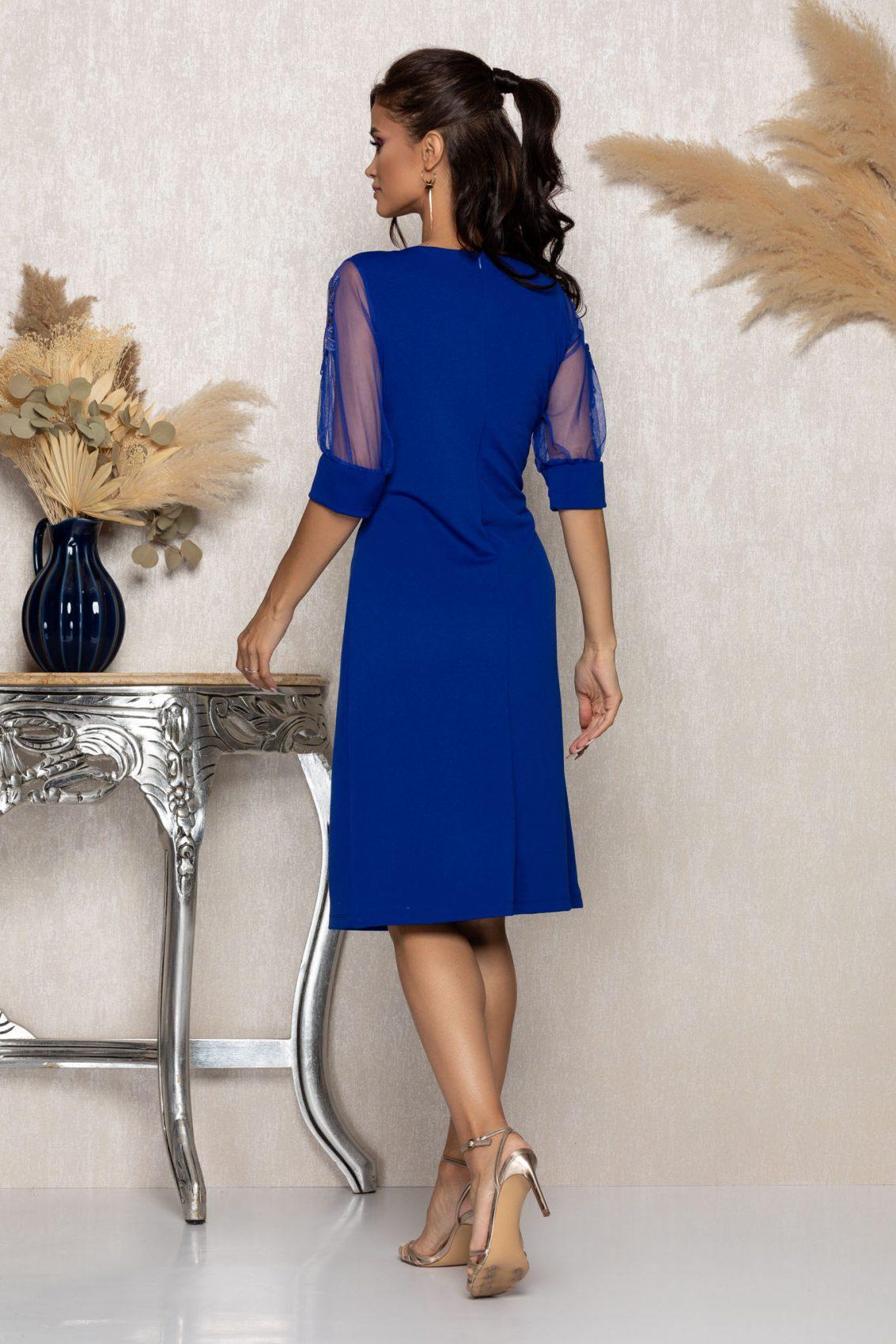 Μπλε Ρουά Μίντι Αμπιγιέ Φόρεμα Ryna A958 2
