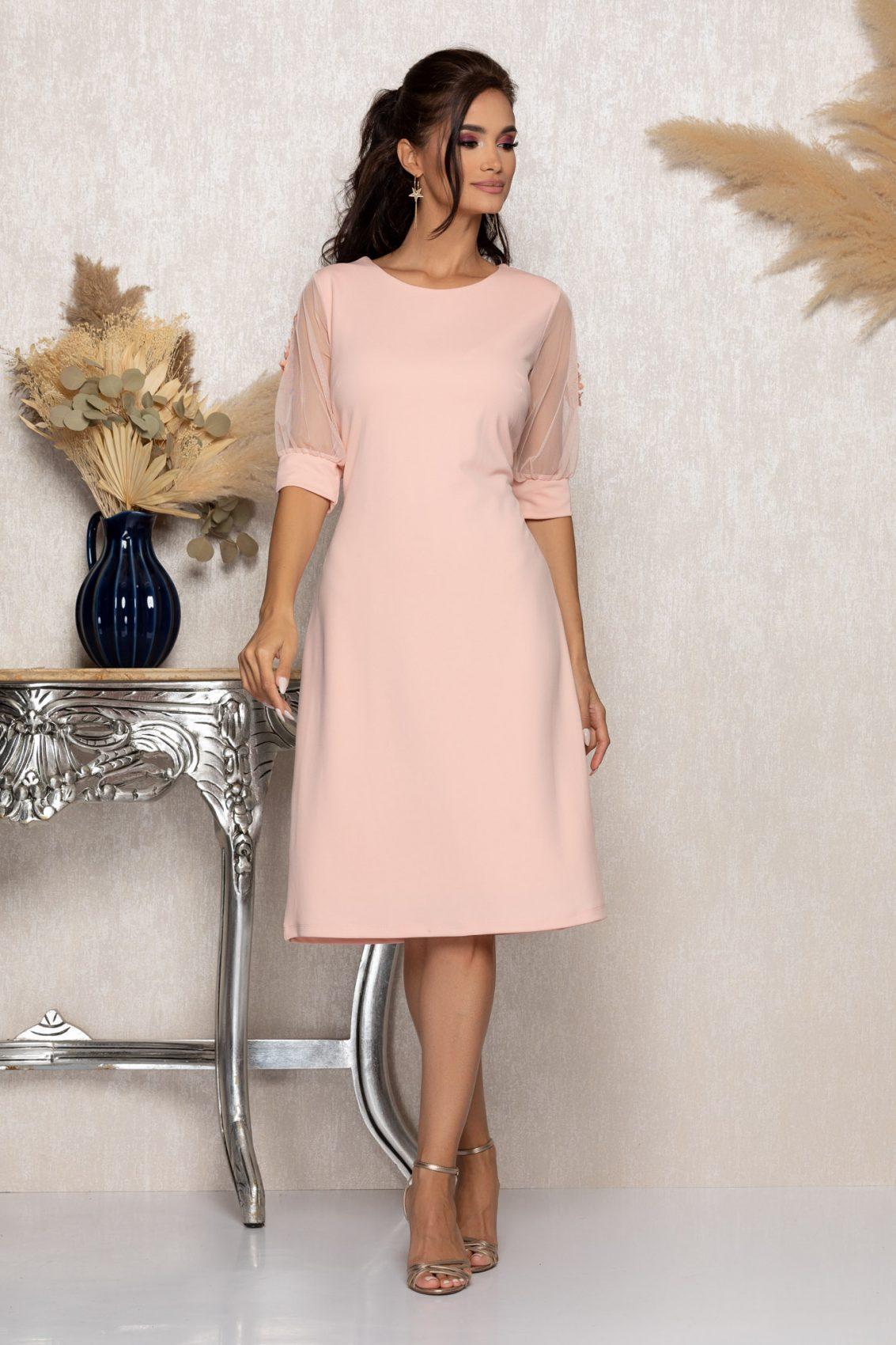 Ροζ Μίντι Αμπιγιέ Φόρεμα Ryna A957 1
