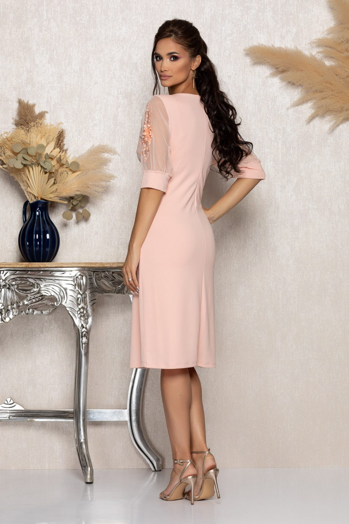 Ροζ Μίντι Αμπιγιέ Φόρεμα Ryna A957 2