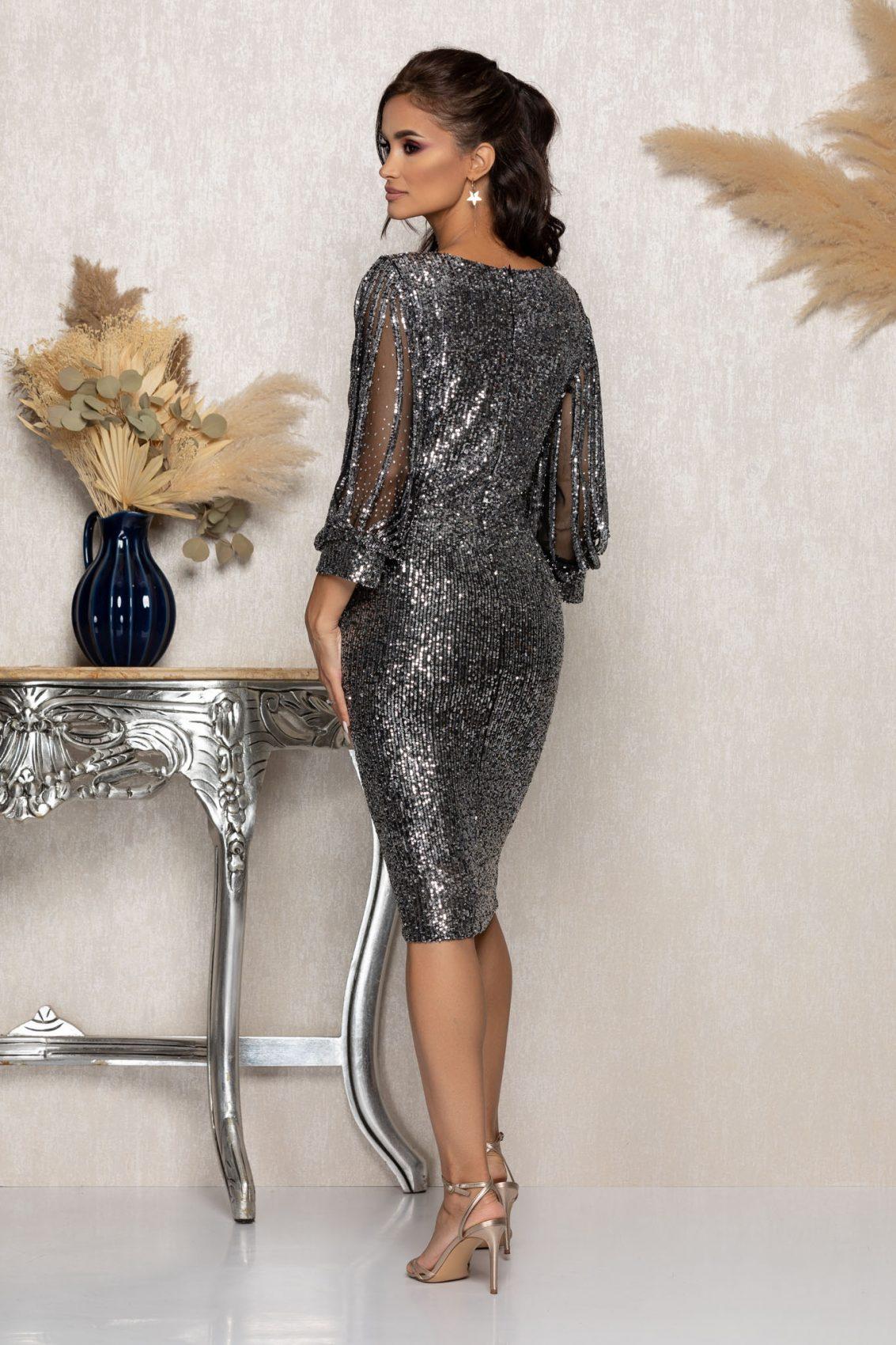 Ασημί Αμπιγιέ Φόρεμα Με Πούλιες Katriss A960 2