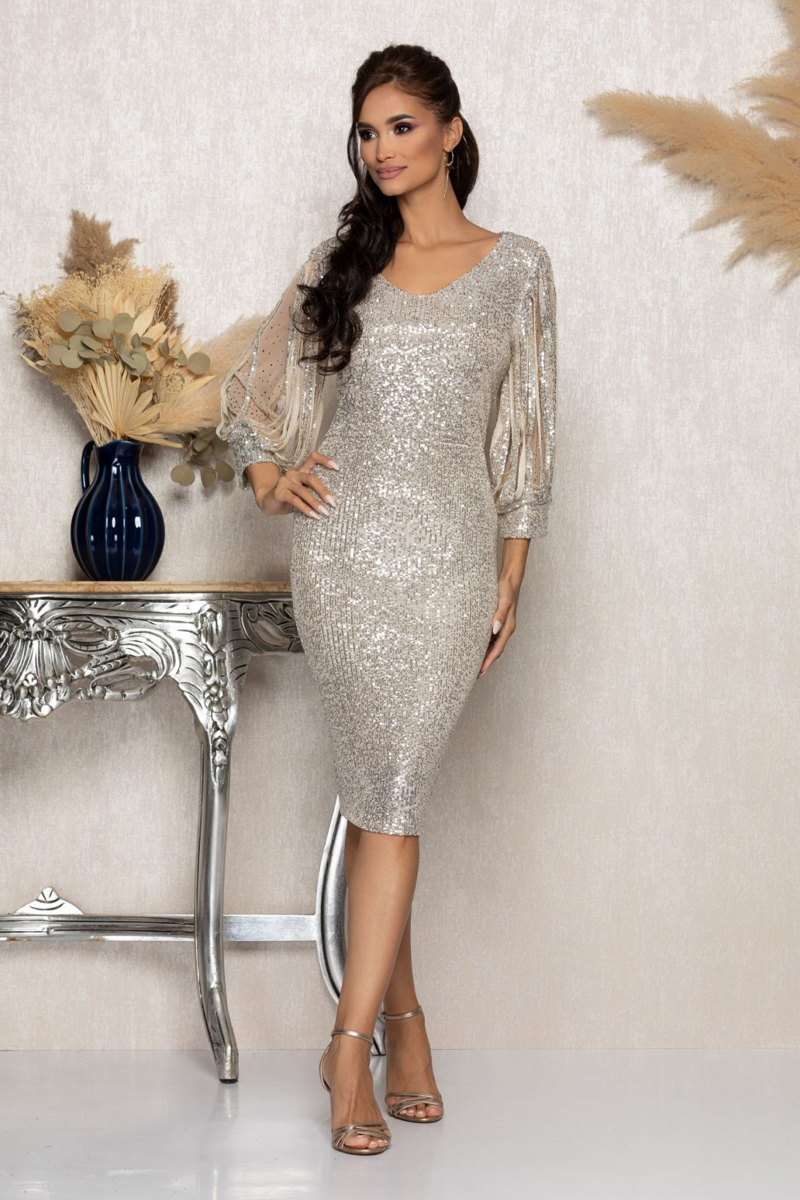 Nude Αμπιγιέ Φόρεμα Με Πούλιες Katriss A962 1
