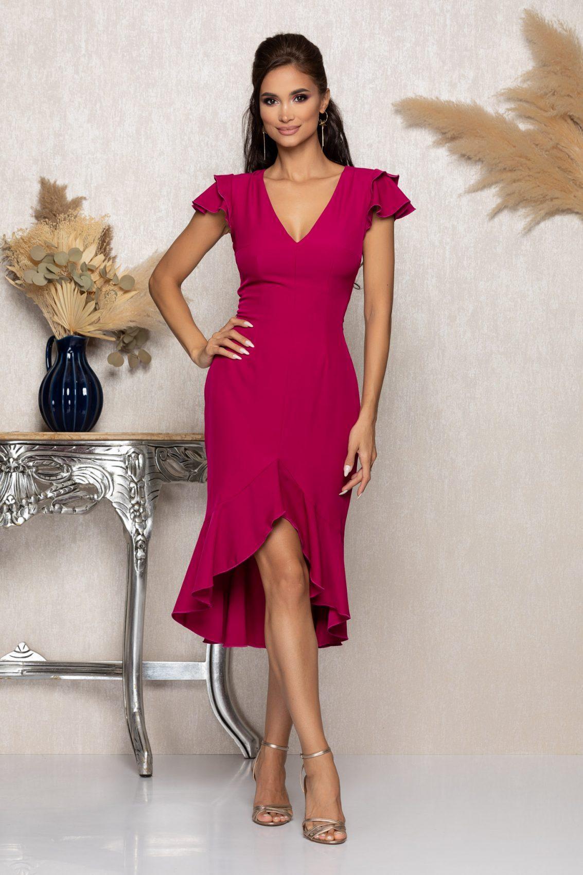 Φούξια Μίντι Φόρεμα Με Βολάν Karamia A1044 1