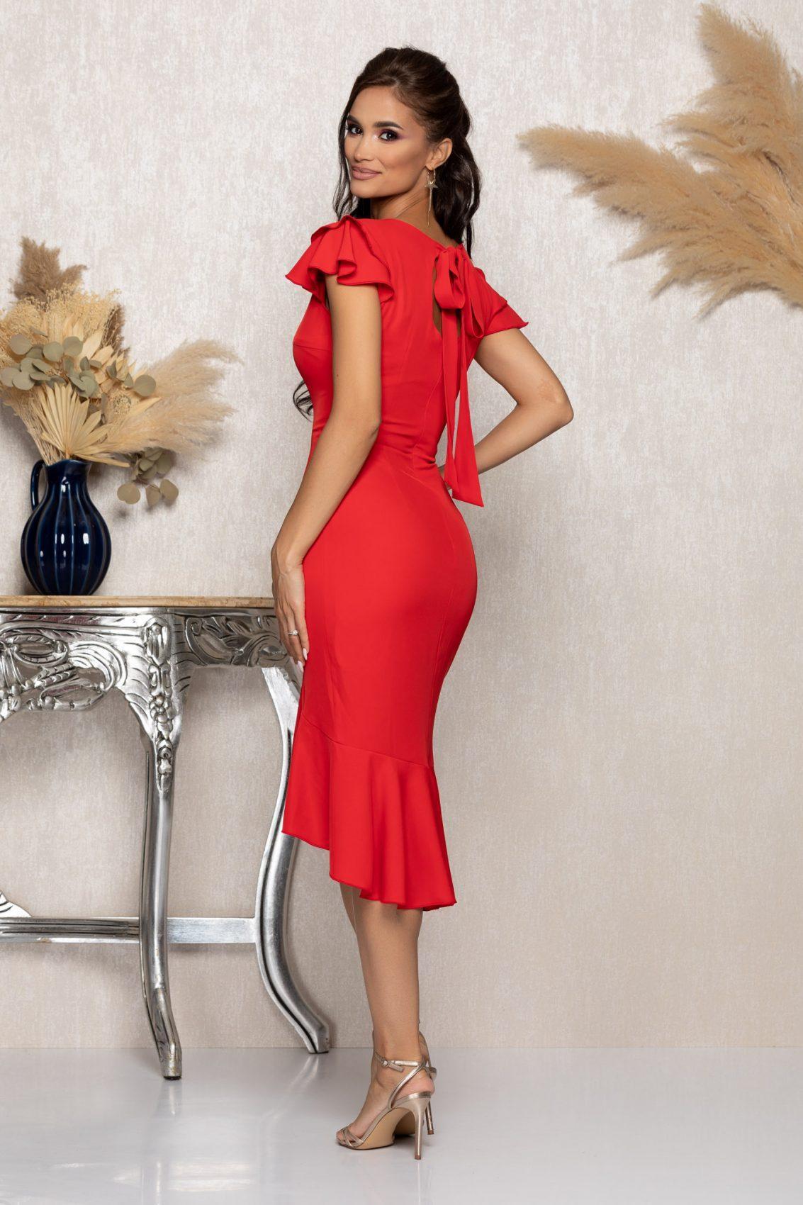 Κόκκινο Μίντι Φόρεμα Με Βολάν Karamia A1045 2