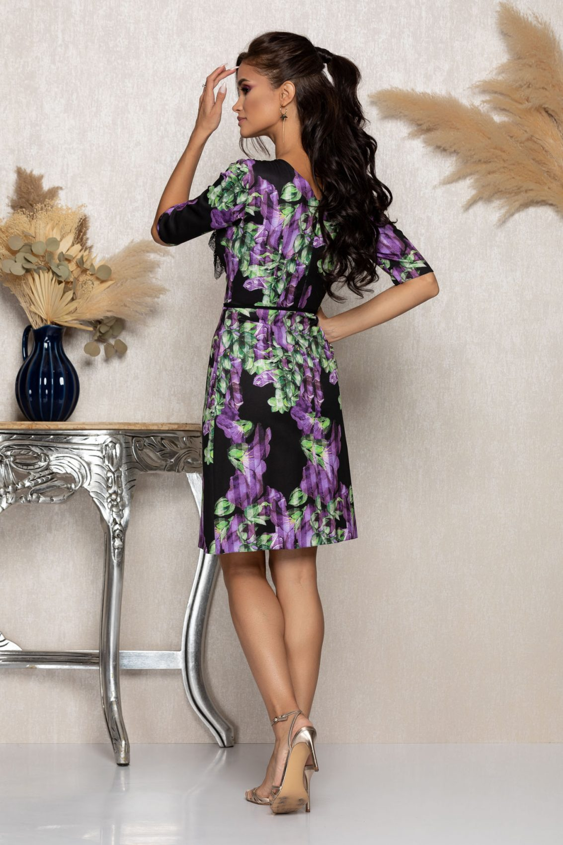 Μαύρο Φλοράλ Φόρεμα Με Δαντέλα Floria A972 2