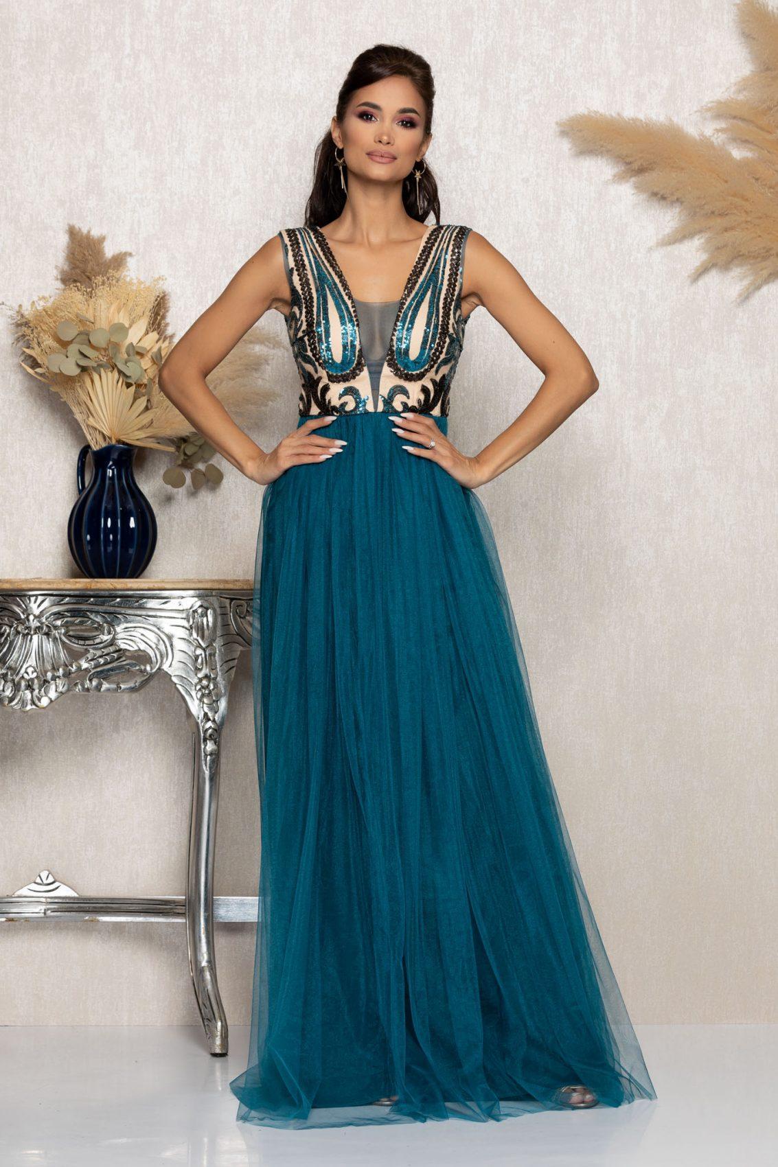 Τυρκουάζ Μάξι Αμπιγιέ Φόρεμα Tonight A1048 1