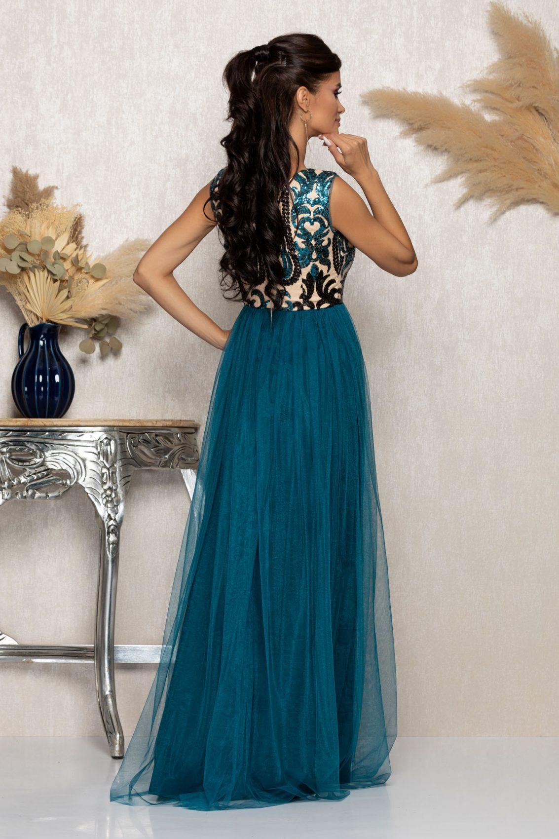Τυρκουάζ Μάξι Αμπιγιέ Φόρεμα Tonight A1048 2