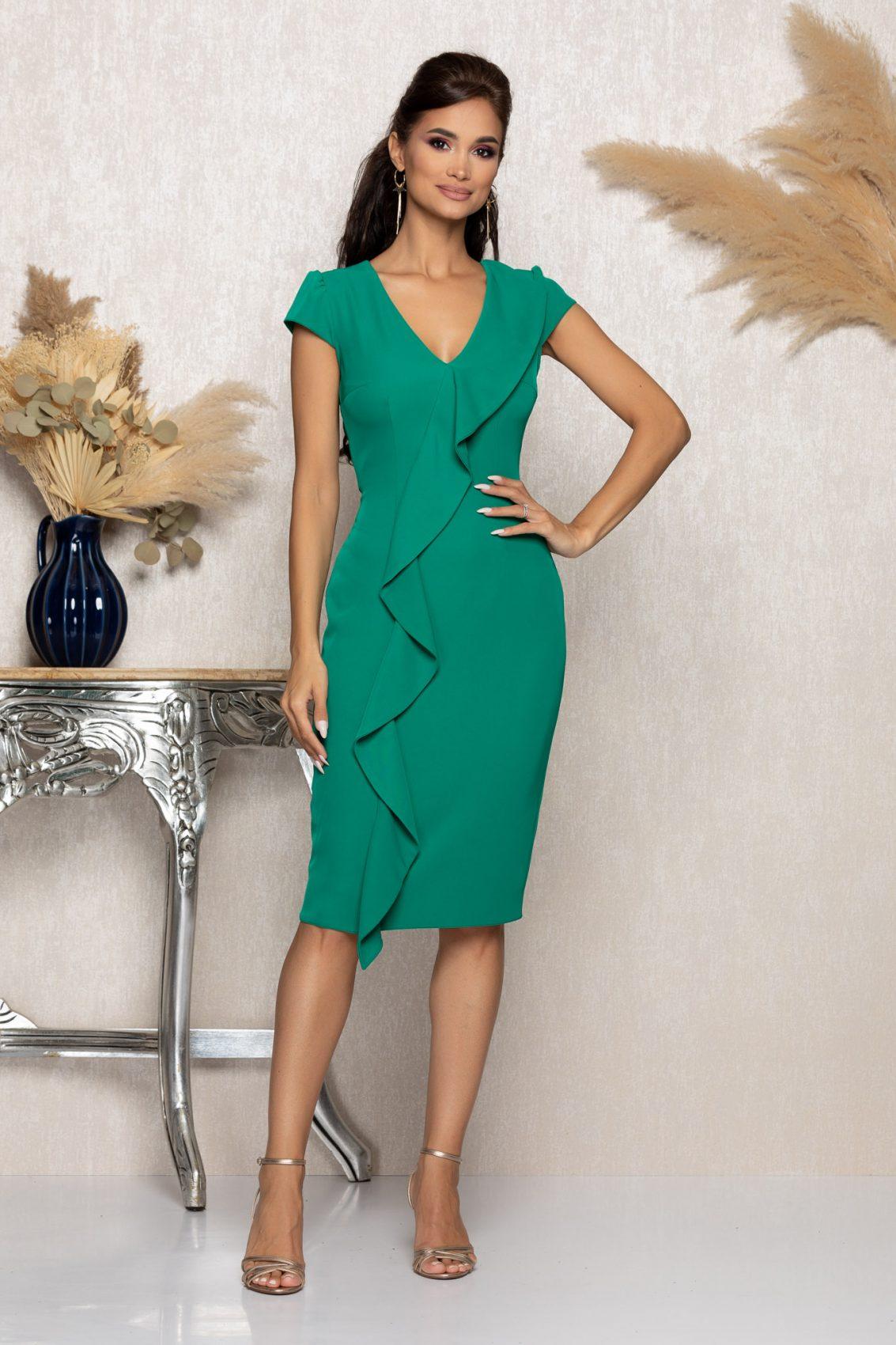 Πράσινο Μίντι Φόρεμα Με Βολάν Mirelle A1139 1