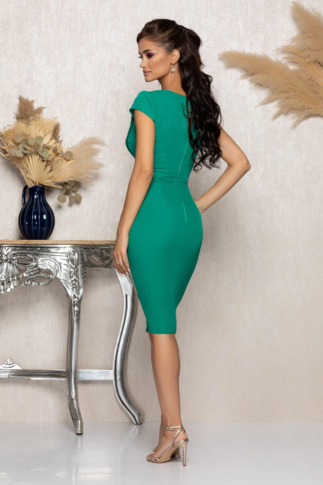 Πράσινο Μίντι Φόρεμα Με Βολάν Mirelle A1139 2