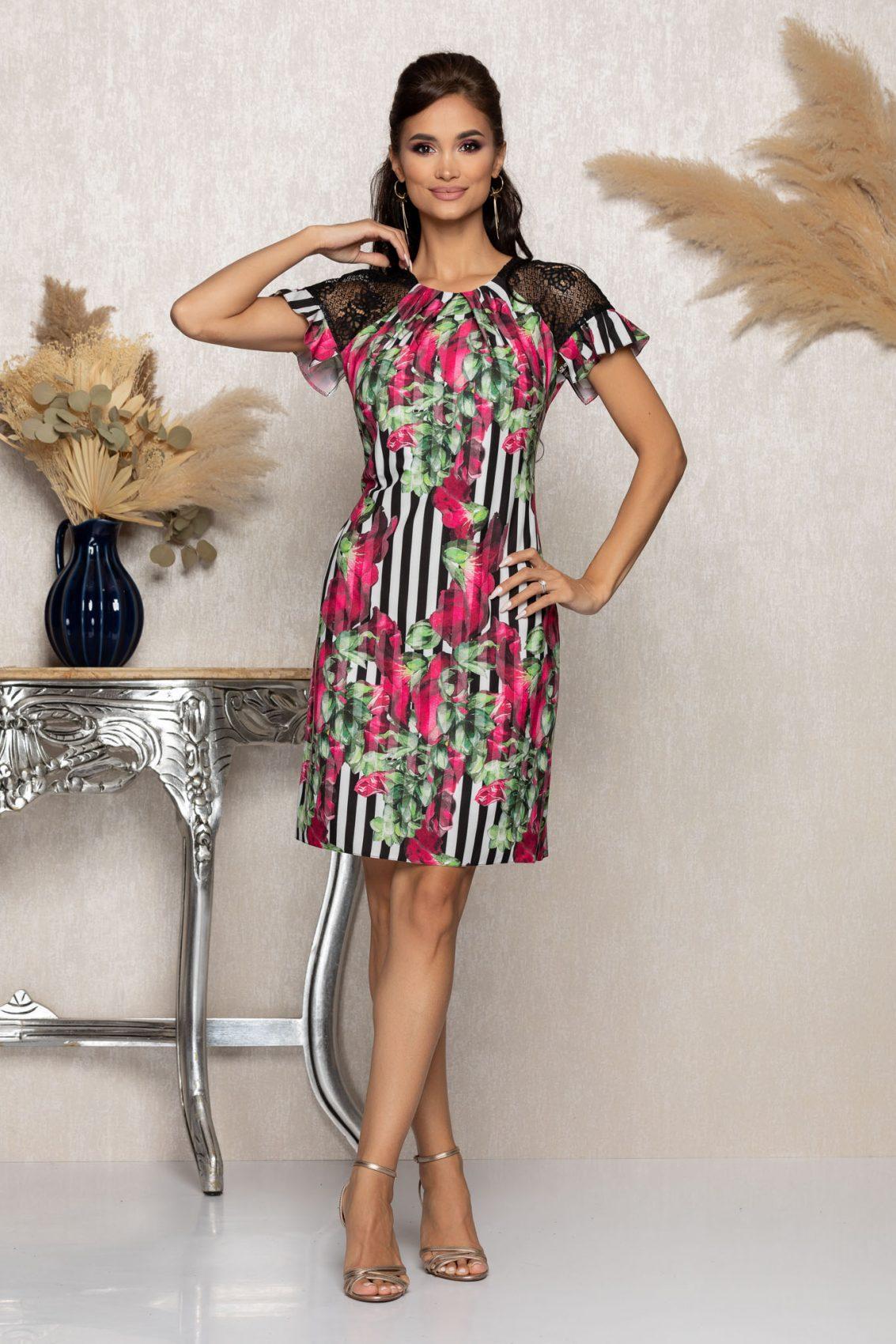 Φλοράλ Φόρεμα Με Δαντέλα Anna A976 1