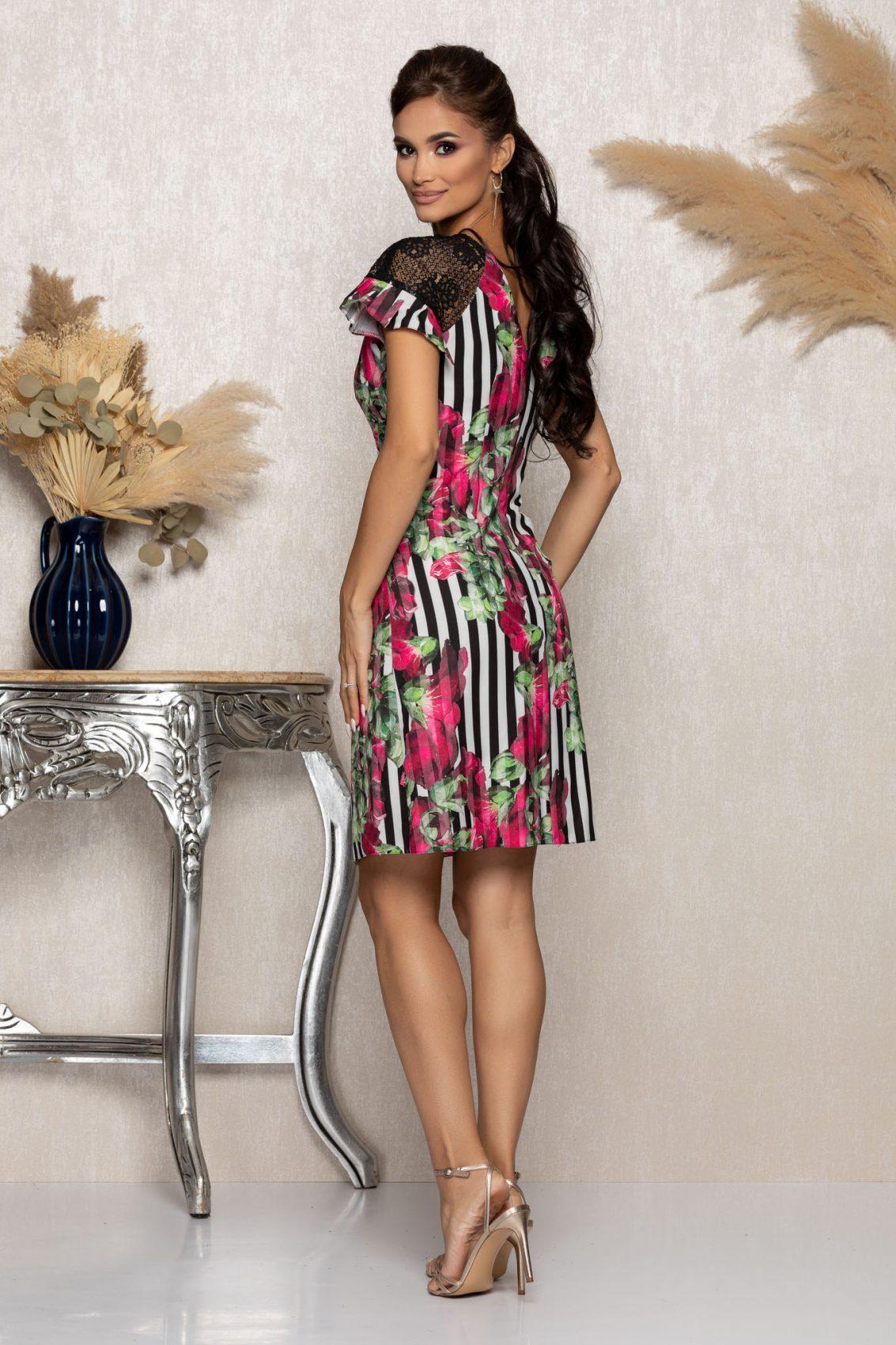 Φλοράλ Φόρεμα Με Δαντέλα Anna A976 2