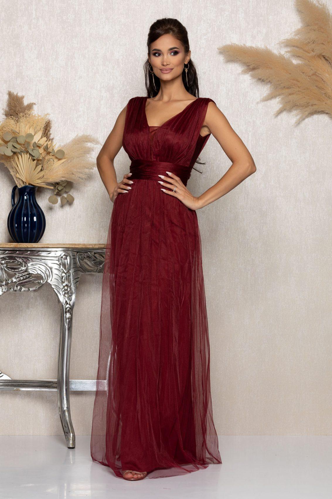 Μπορντό Μάξι Αμπιγιέ Φόρεμα Senzation A1026 1