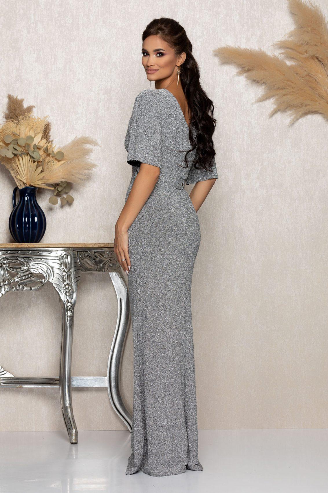 Ασημί Μάξι Αμπιγιέ Φόρεμα Με Ζώνη Tiarra A1038 2