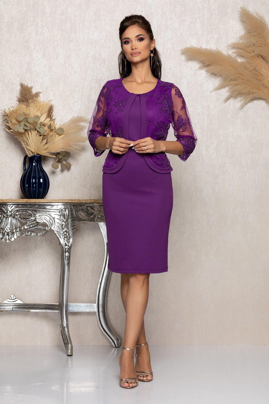 Μωβ Μίντι Αμπιγιέ Φόρεμα Με Δαντέλα Verity A954 1