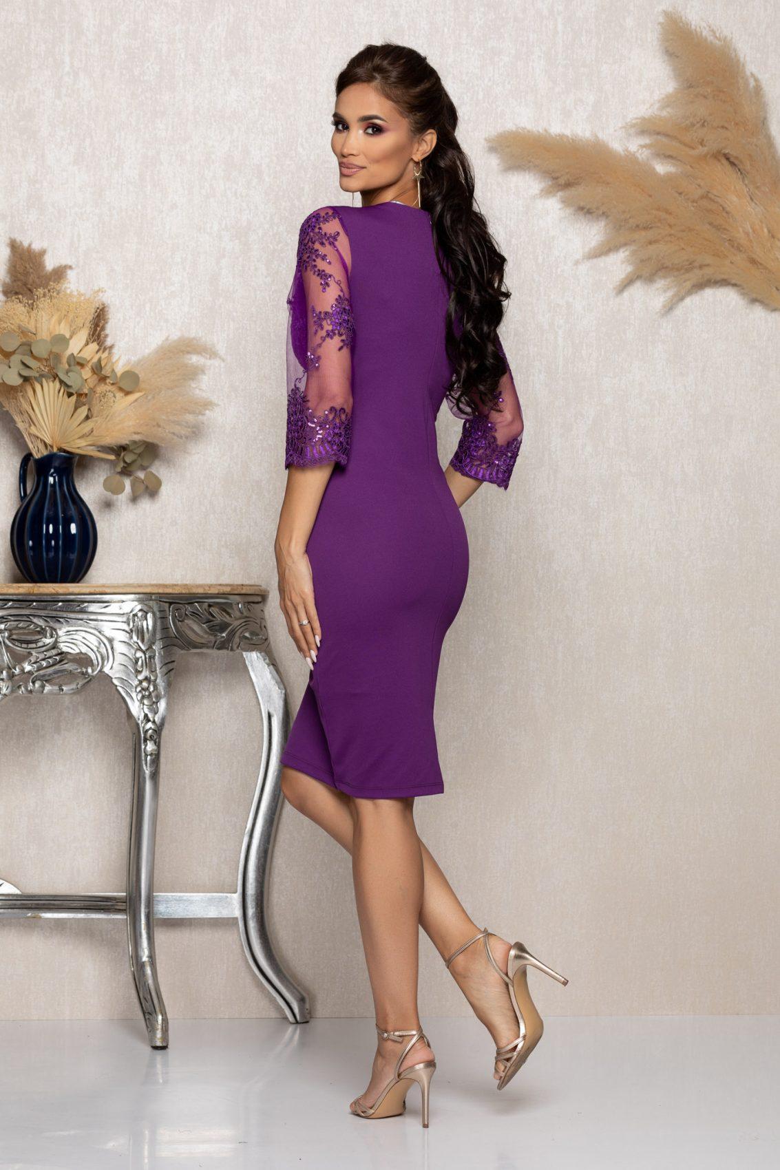 Μωβ Μίντι Αμπιγιέ Φόρεμα Με Δαντέλα Verity A954 2