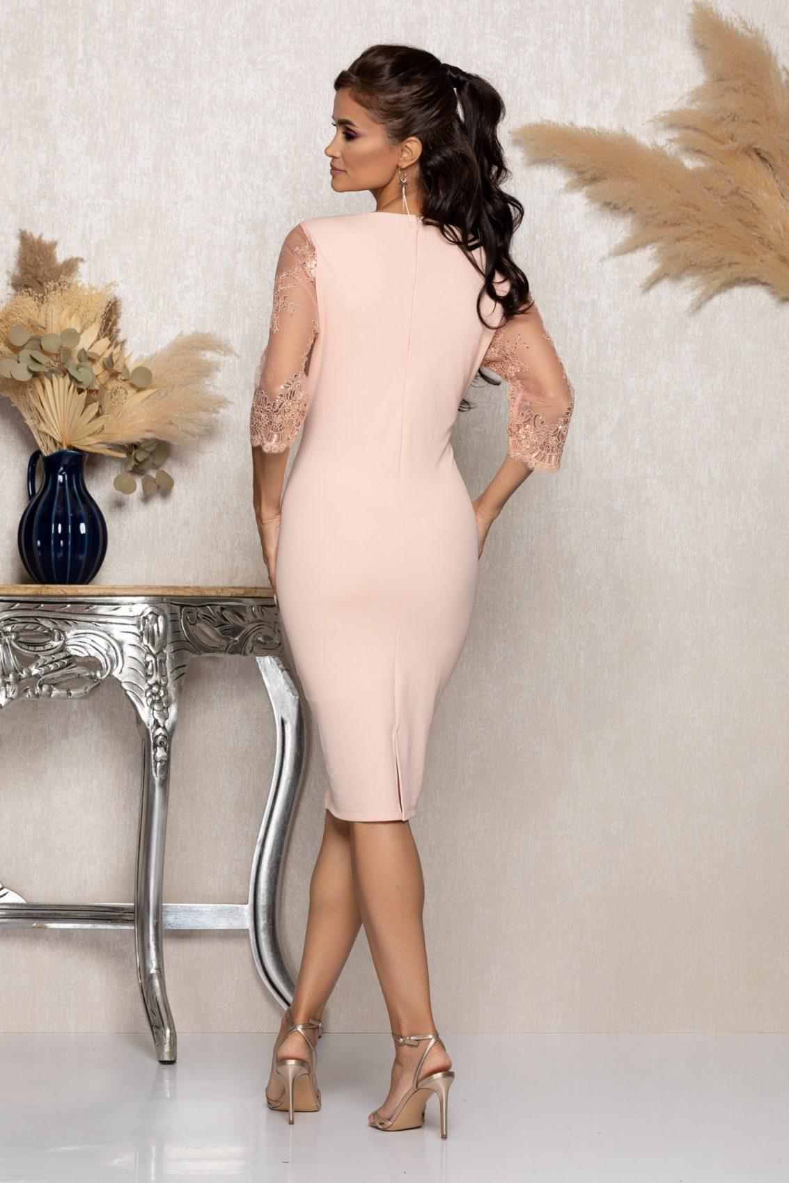 Ροζ Μίντι Αμπιγιέ Φόρεμα Με Δαντέλα Verity A953 2