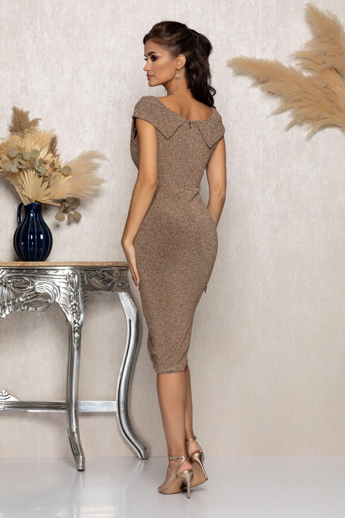 Χρυσό Μίντι Αμπιγιέ Φόρεμα Lyana A980 2
