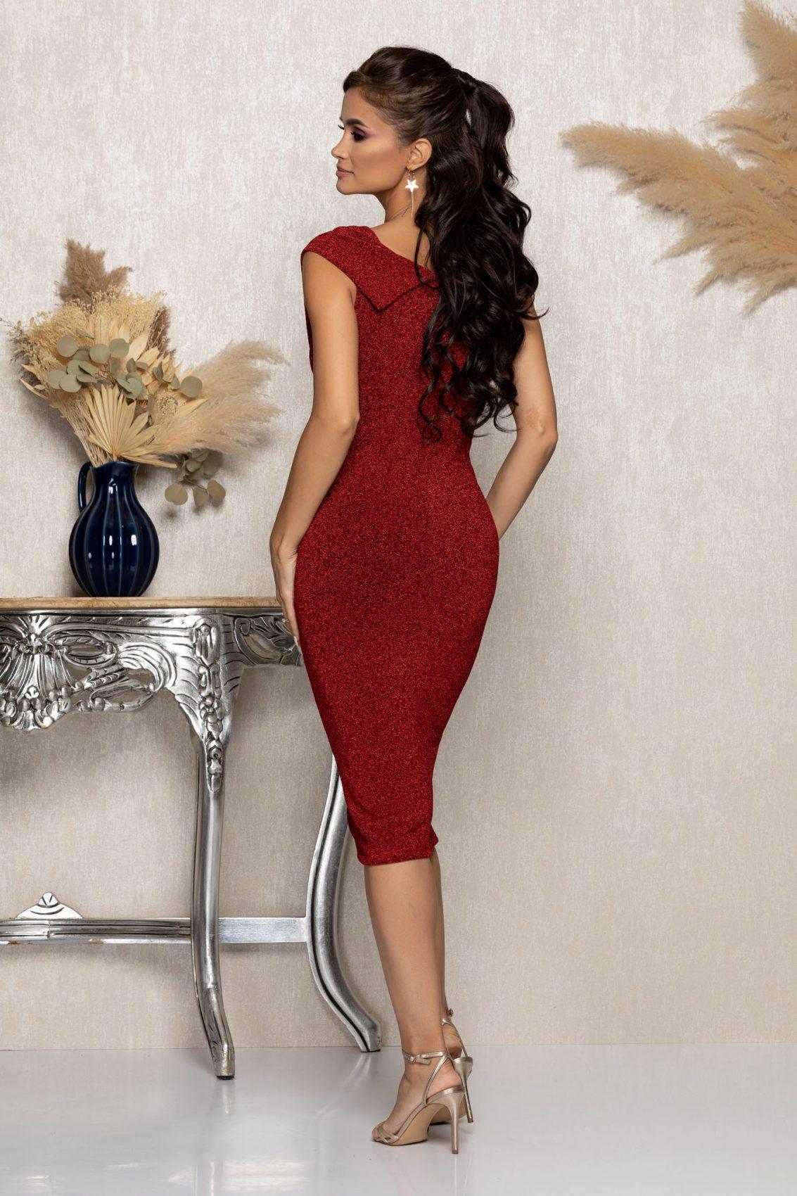Κόκκινο Μίντι Αμπιγιέ Φόρεμα Lyana A978 2