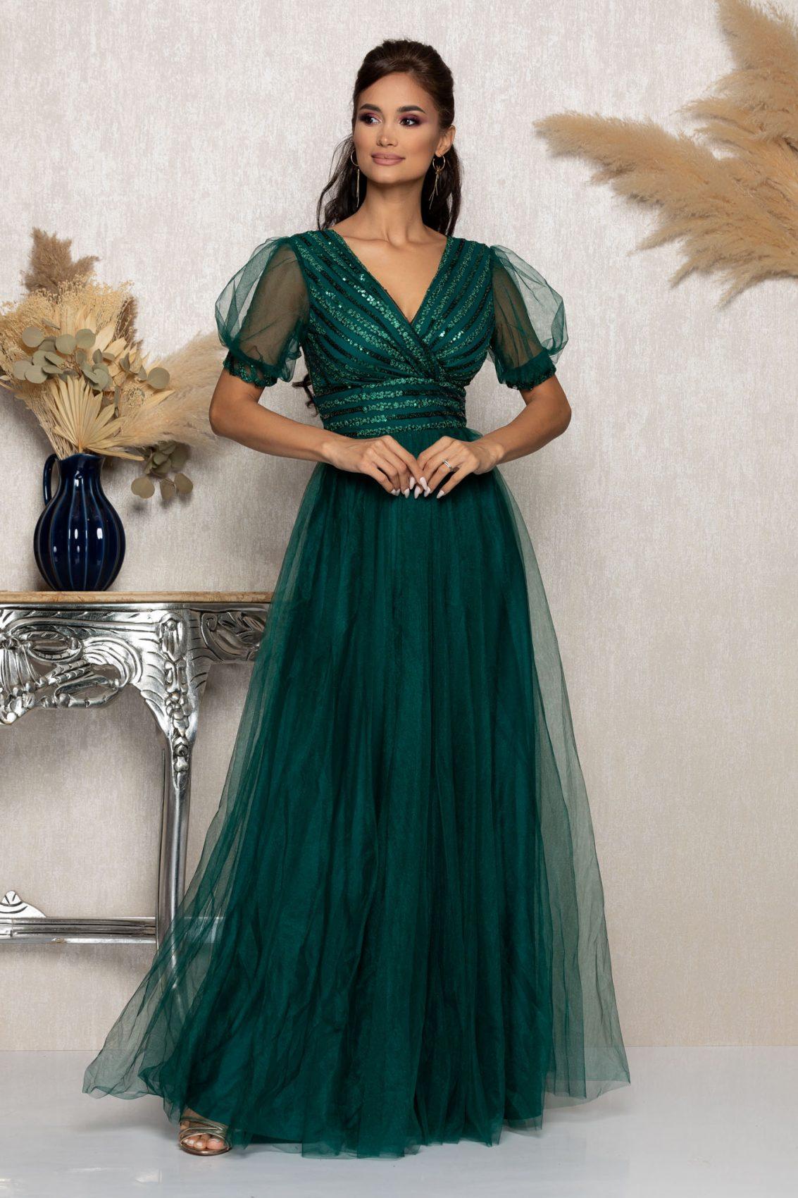 Πράσινο Μάξι Αμπιγιέ Φόρεμα Artemis A992 1
