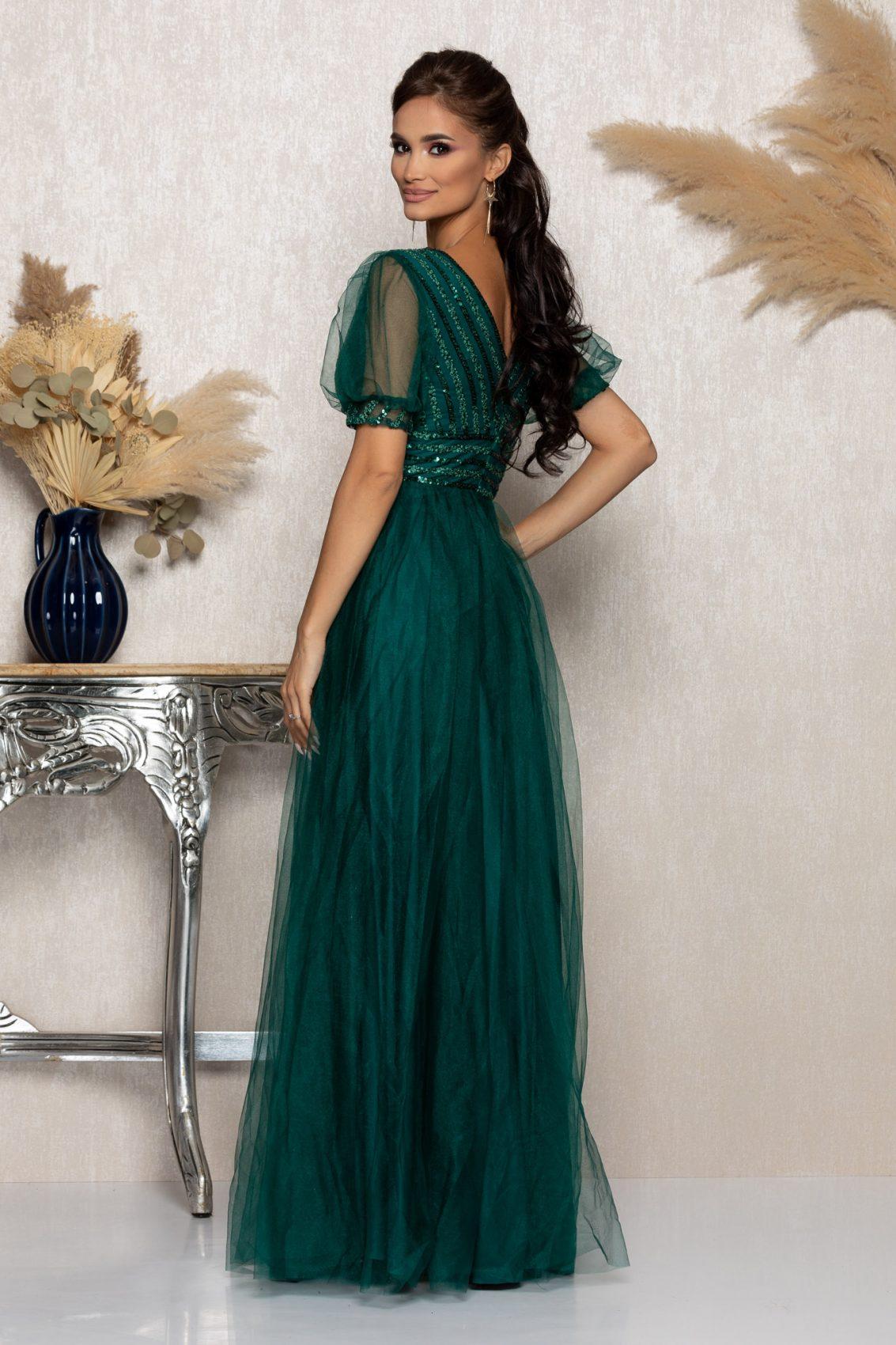 Πράσινο Μάξι Αμπιγιέ Φόρεμα Artemis A992 2