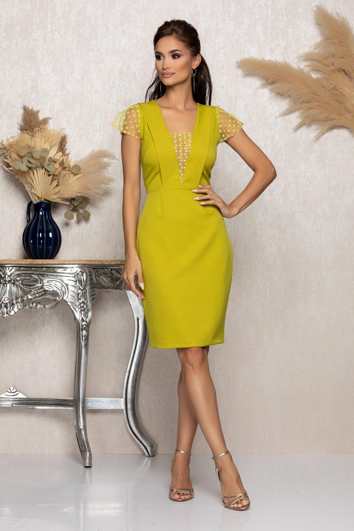 Λάιμ Αμπιγιέ Φόρεμα Με Τούλι Catalina A1050 1
