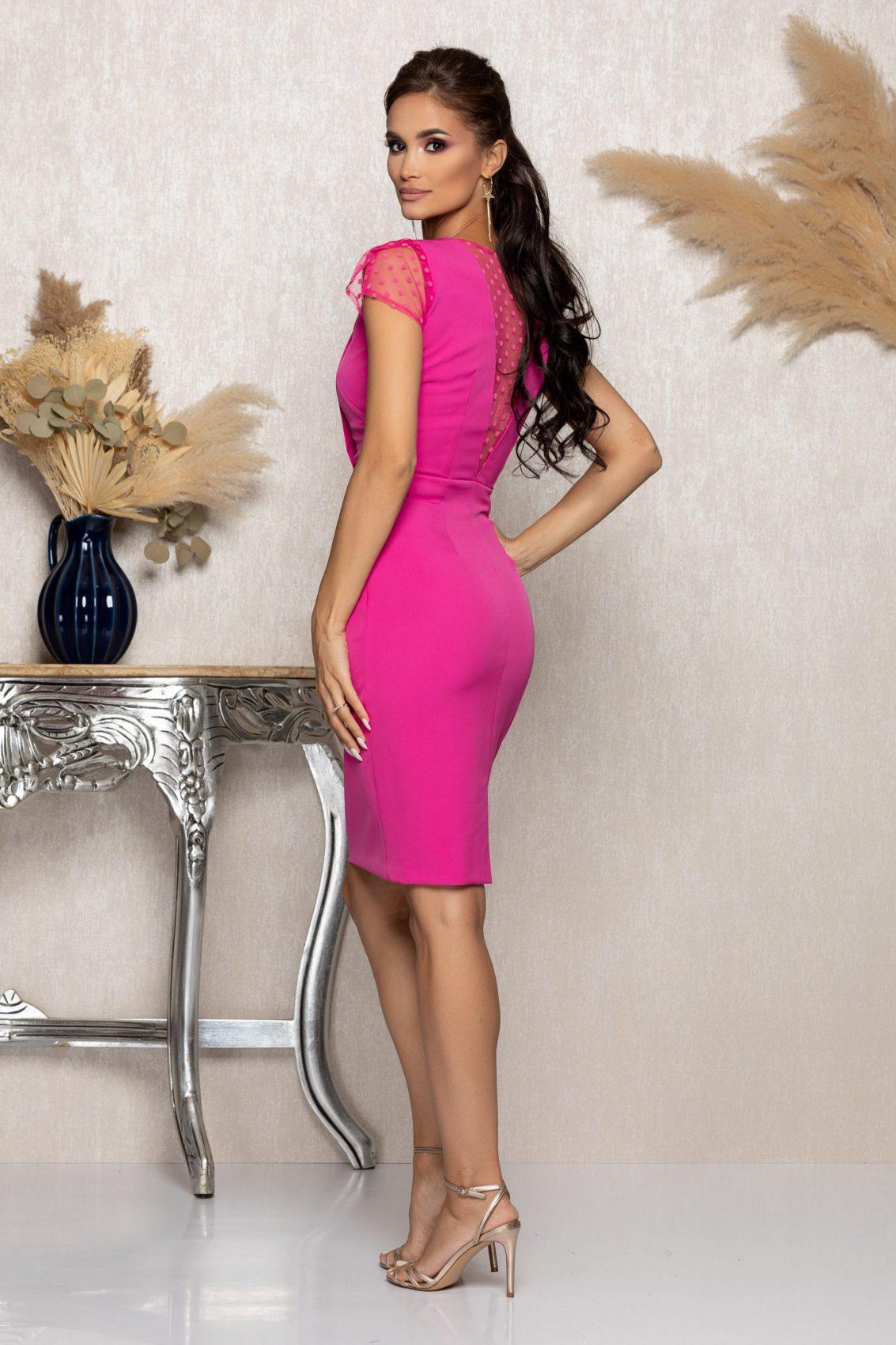 Φούξια Αμπιγιέ Φόρεμα Με Τούλι Catalina A1051 2