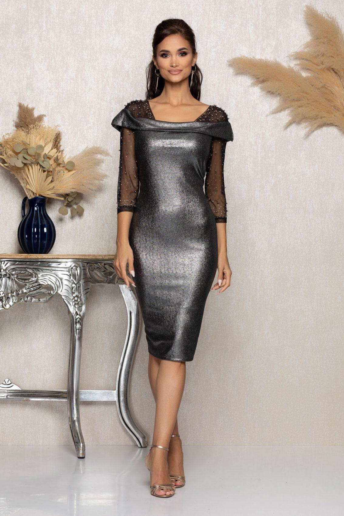 Γκρι Μίντι Βραδινό Φόρεμα Με Πέρλες Maddie A975 1