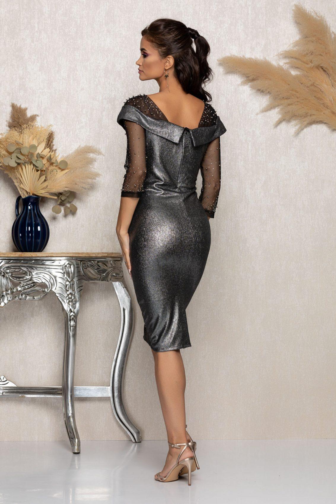Γκρι Μίντι Βραδινό Φόρεμα Με Πέρλες Maddie A975 2