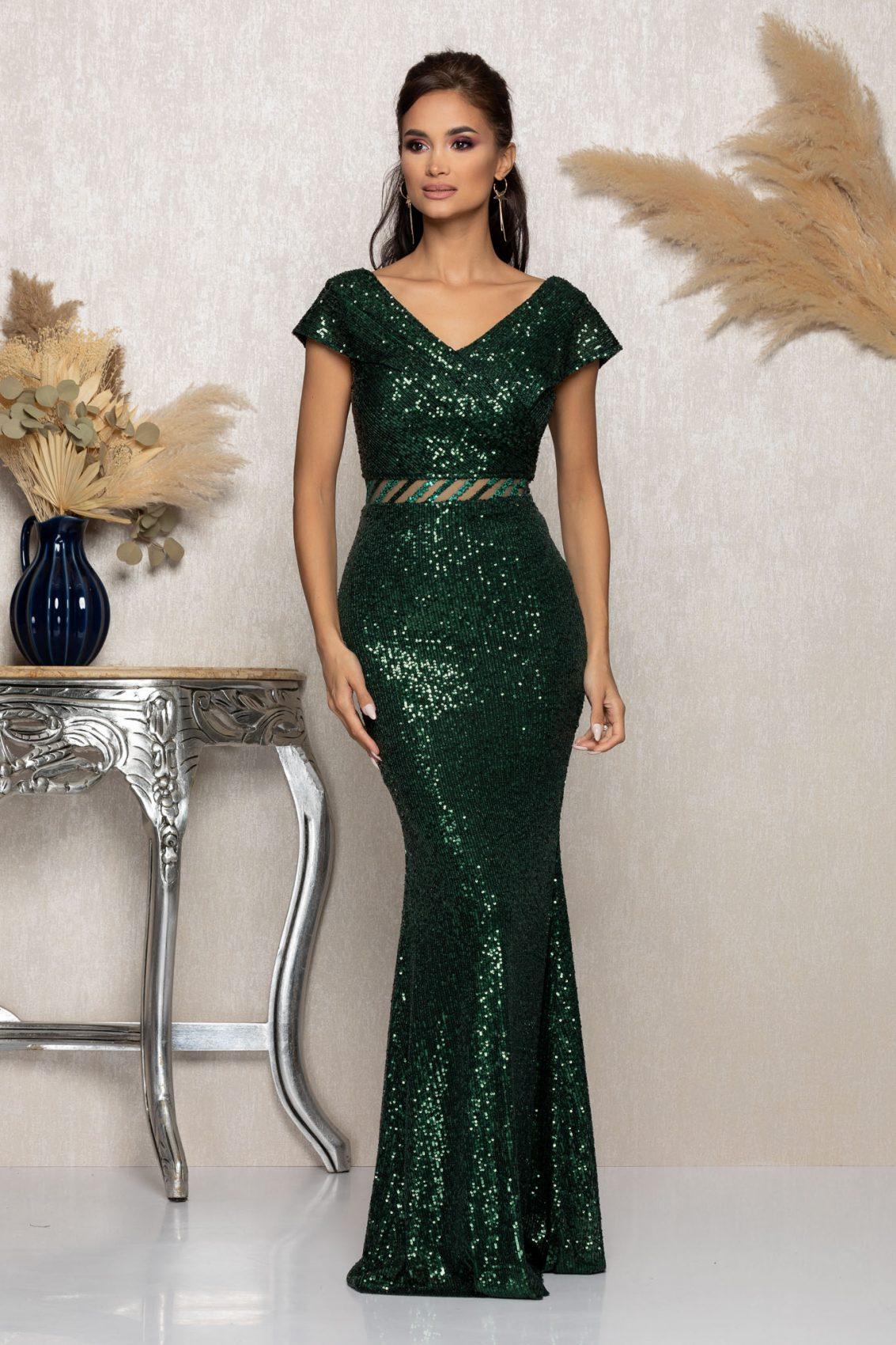 Πράσινο Μάξι Αμπιγιέ Φόρεμα Chelsea A1035 1