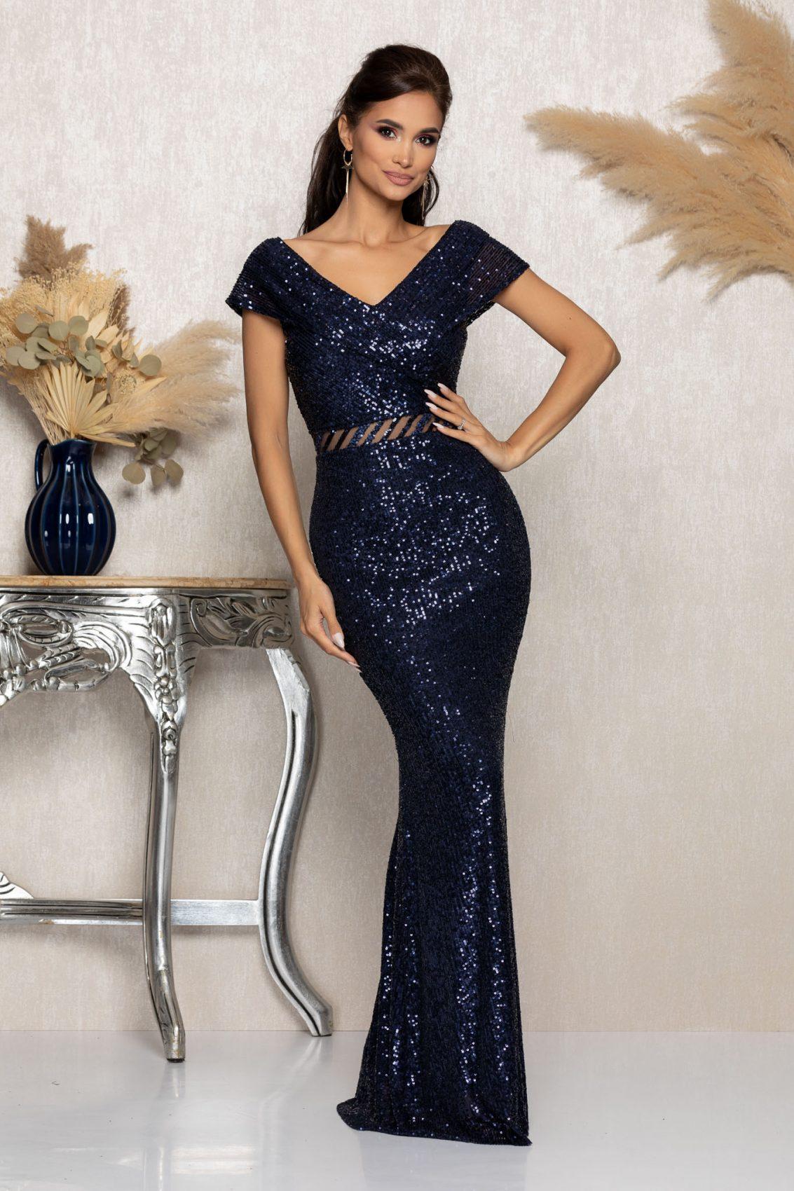 Μπλε Μάξι Αμπιγιέ Φόρεμα Chelsea A1036 1