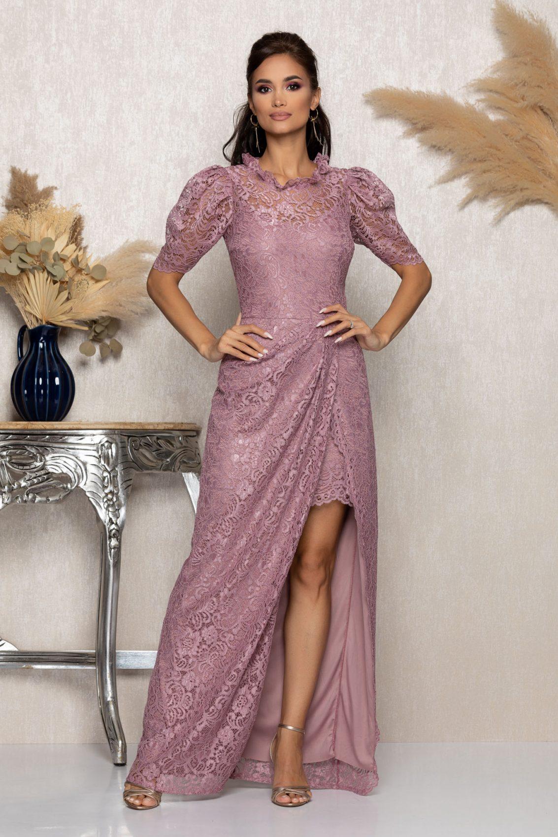 Λιλά Μάξι Αμπιγιέ Φόρεμα Από Δαντέλα Beautiful A1024 1