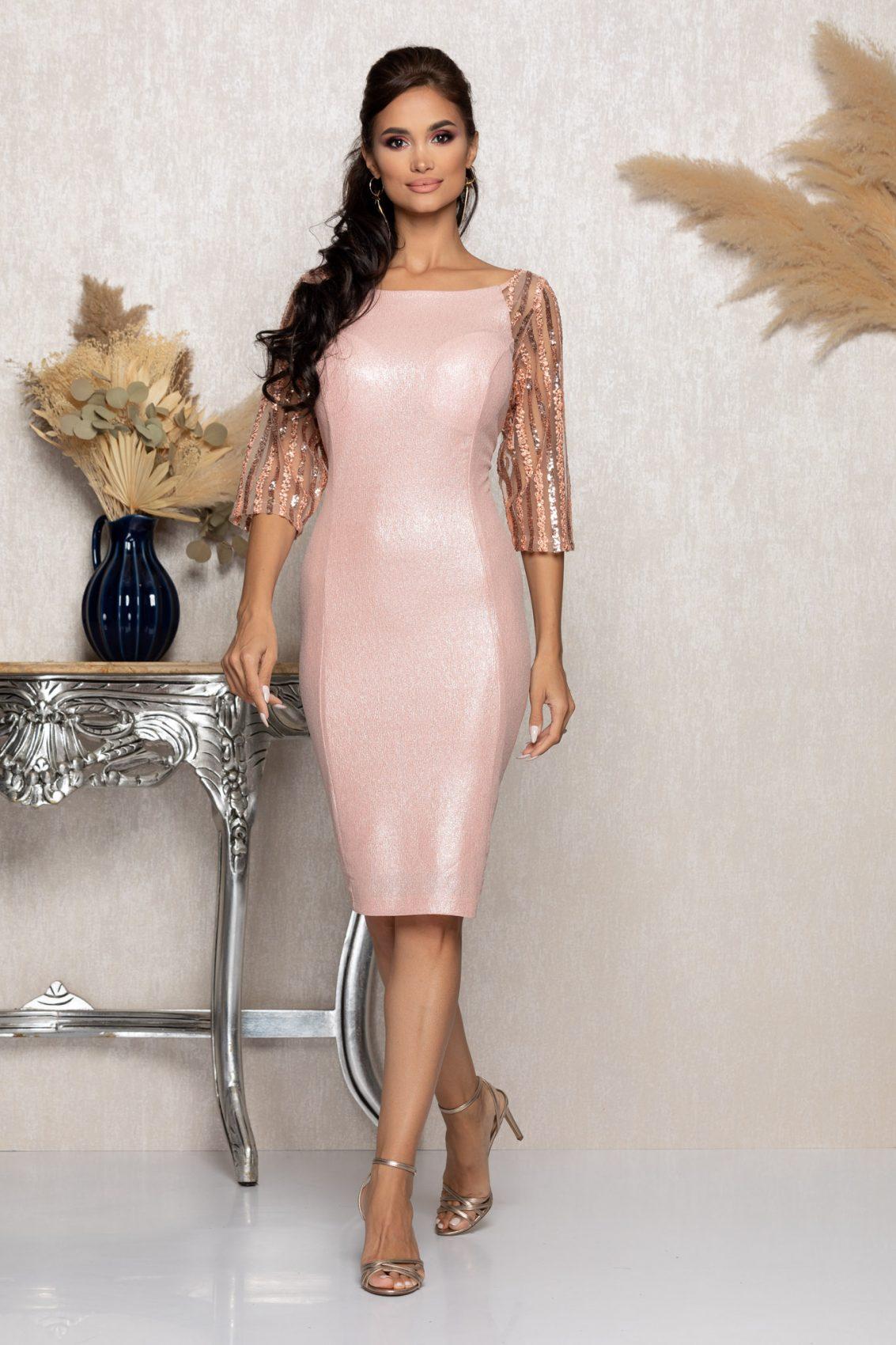 Ροζ Μίντι Βραδινό Φόρεμα Lenna A986 1