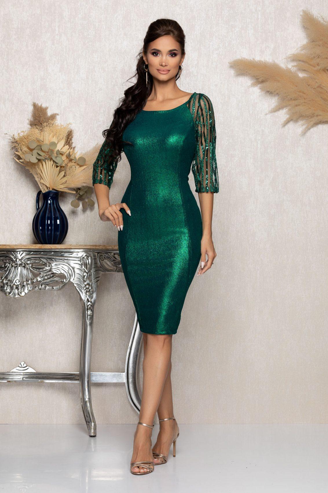 Πράσινο Μίντι Βραδινό Φόρεμα Lenna A984 1