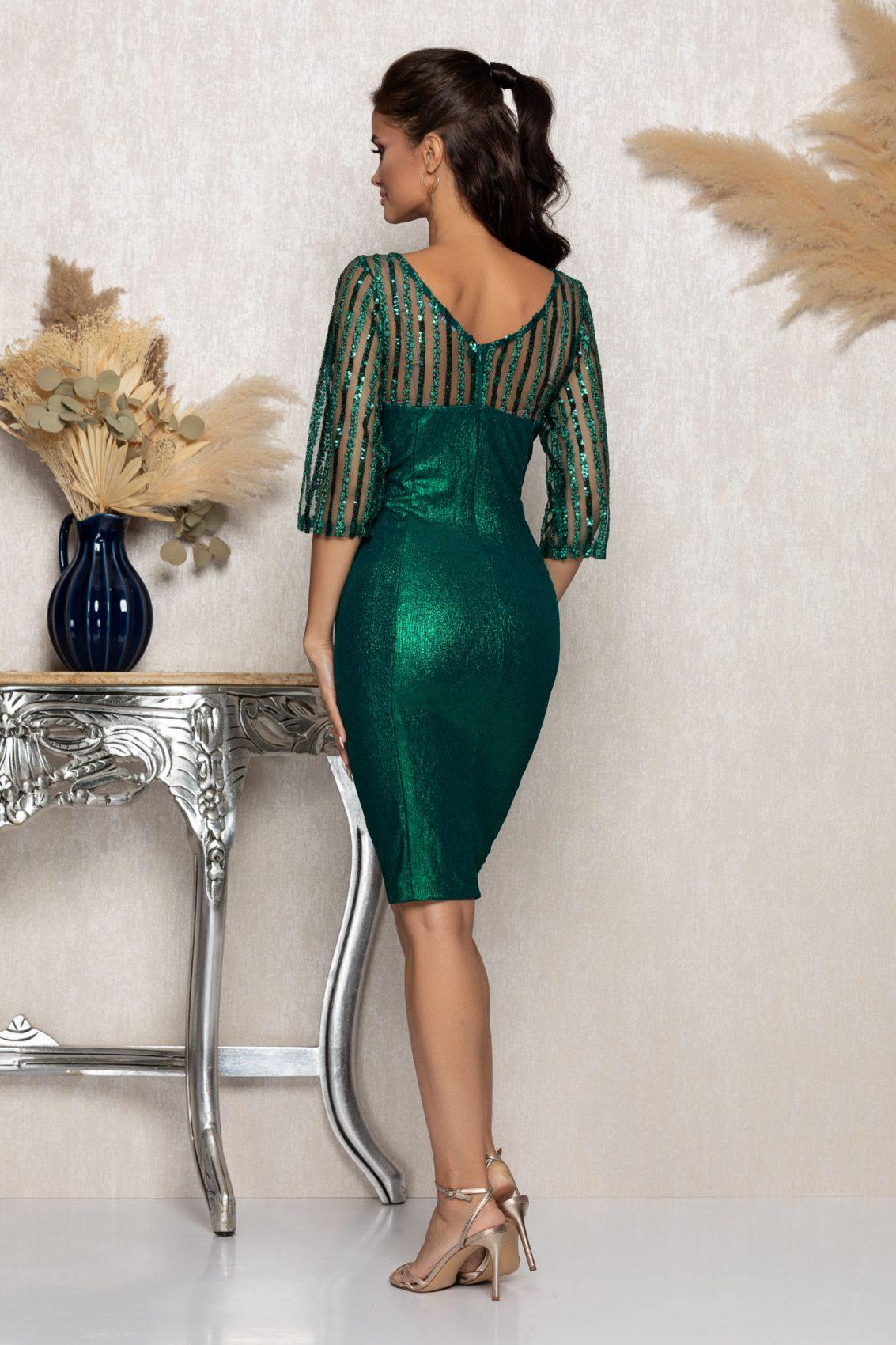 Πράσινο Μίντι Βραδινό Φόρεμα Lenna A984 2