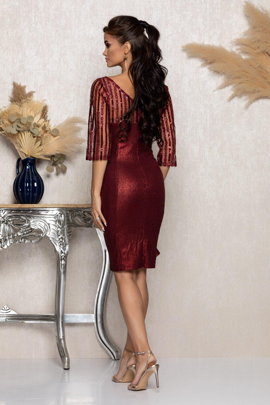 Μπορντό Μίντι Βραδινό Φόρεμα Lenna A983 2