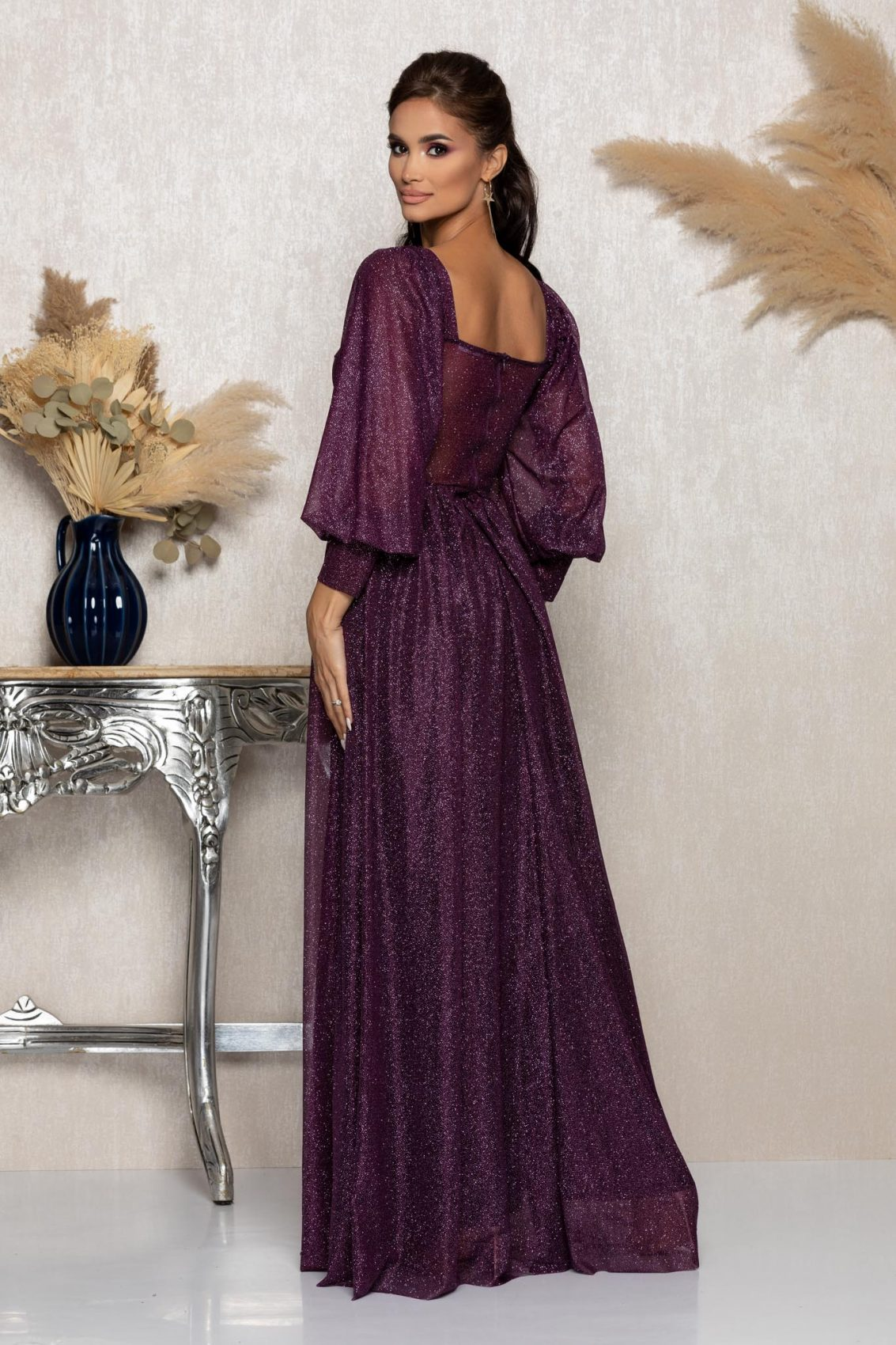 Βιολετί Μάξι Αμπιγιέ Φόρεμα Louisiana A1020 2