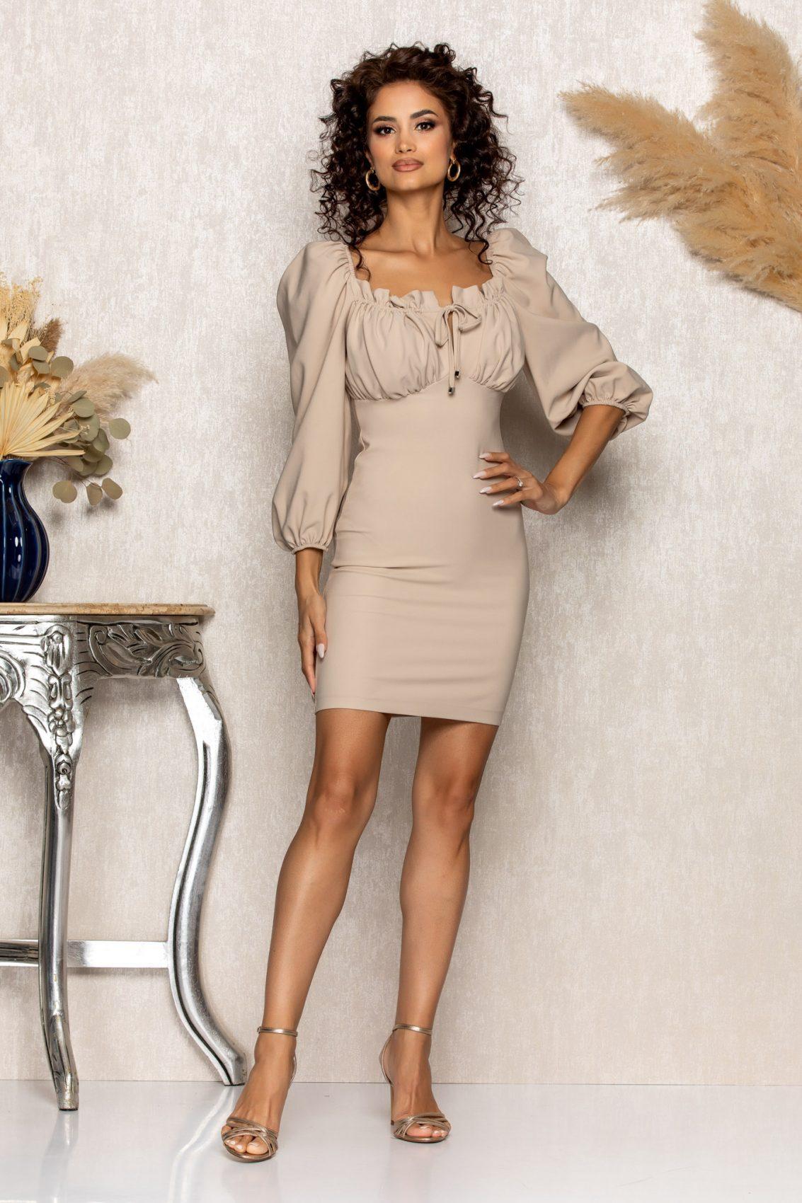 Μπεζ Φόρεμα Sabina A546 1