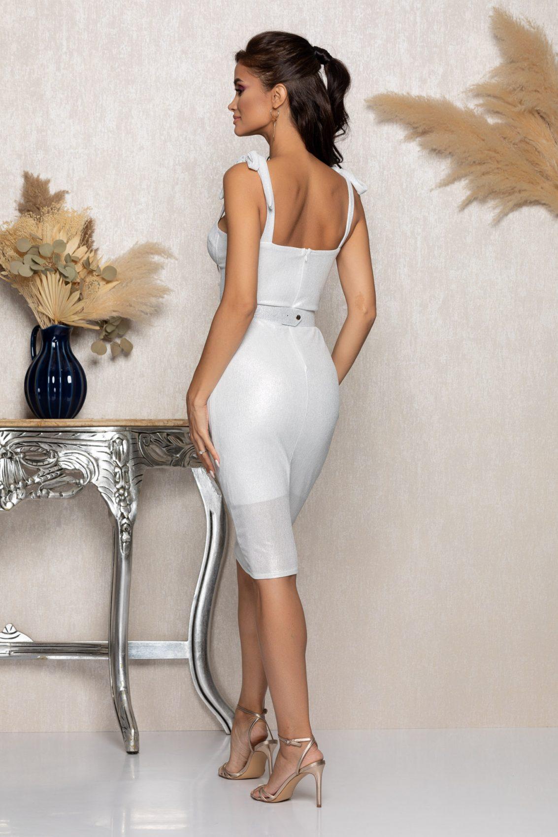 Λευκό Μίντι Αμπιγιέ Φόρεμα Vivya A1007 2
