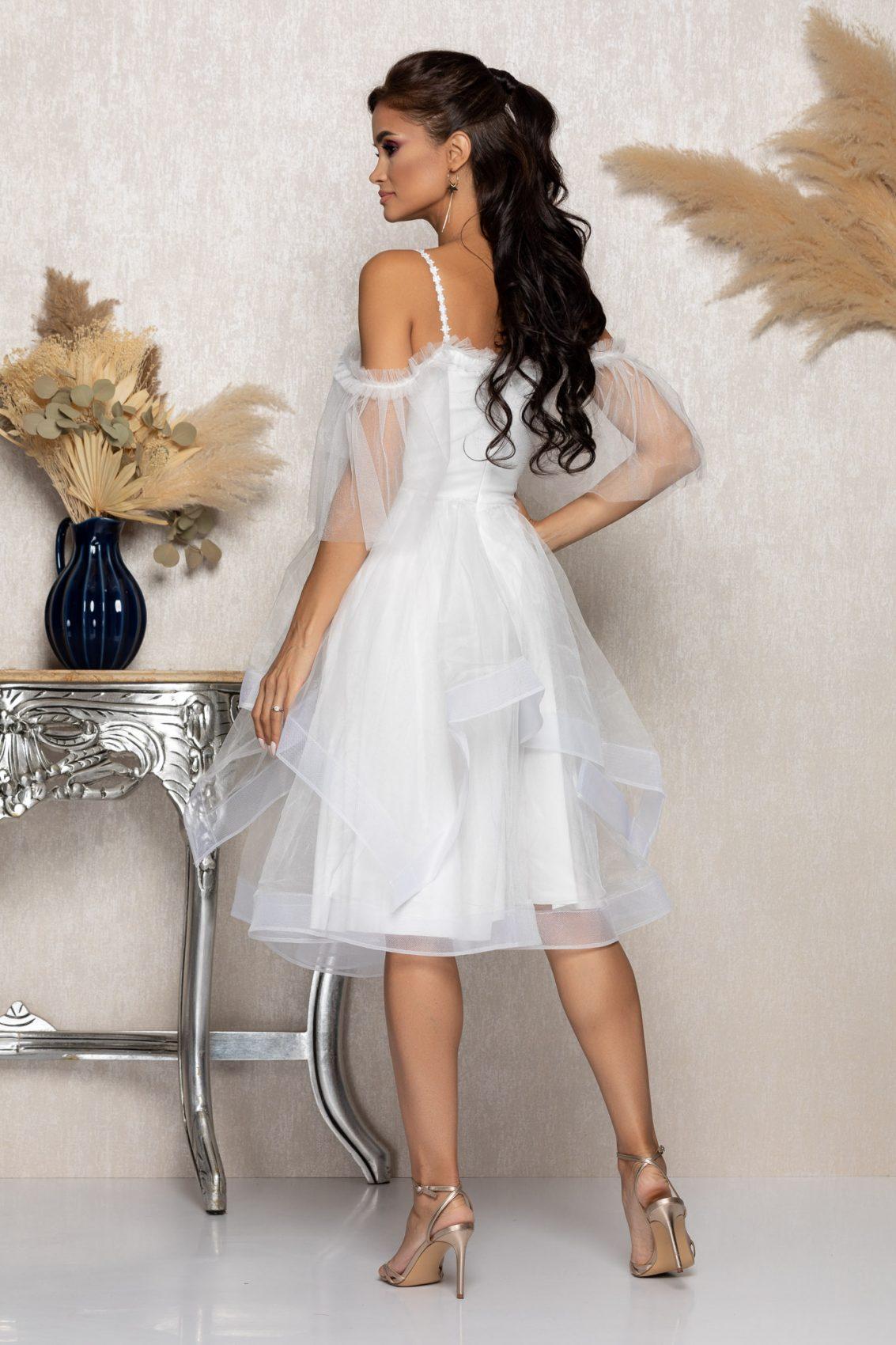 Λευκό Μίντι Αμπιγιέ Κλος Φόρεμα Rossana A1010 2