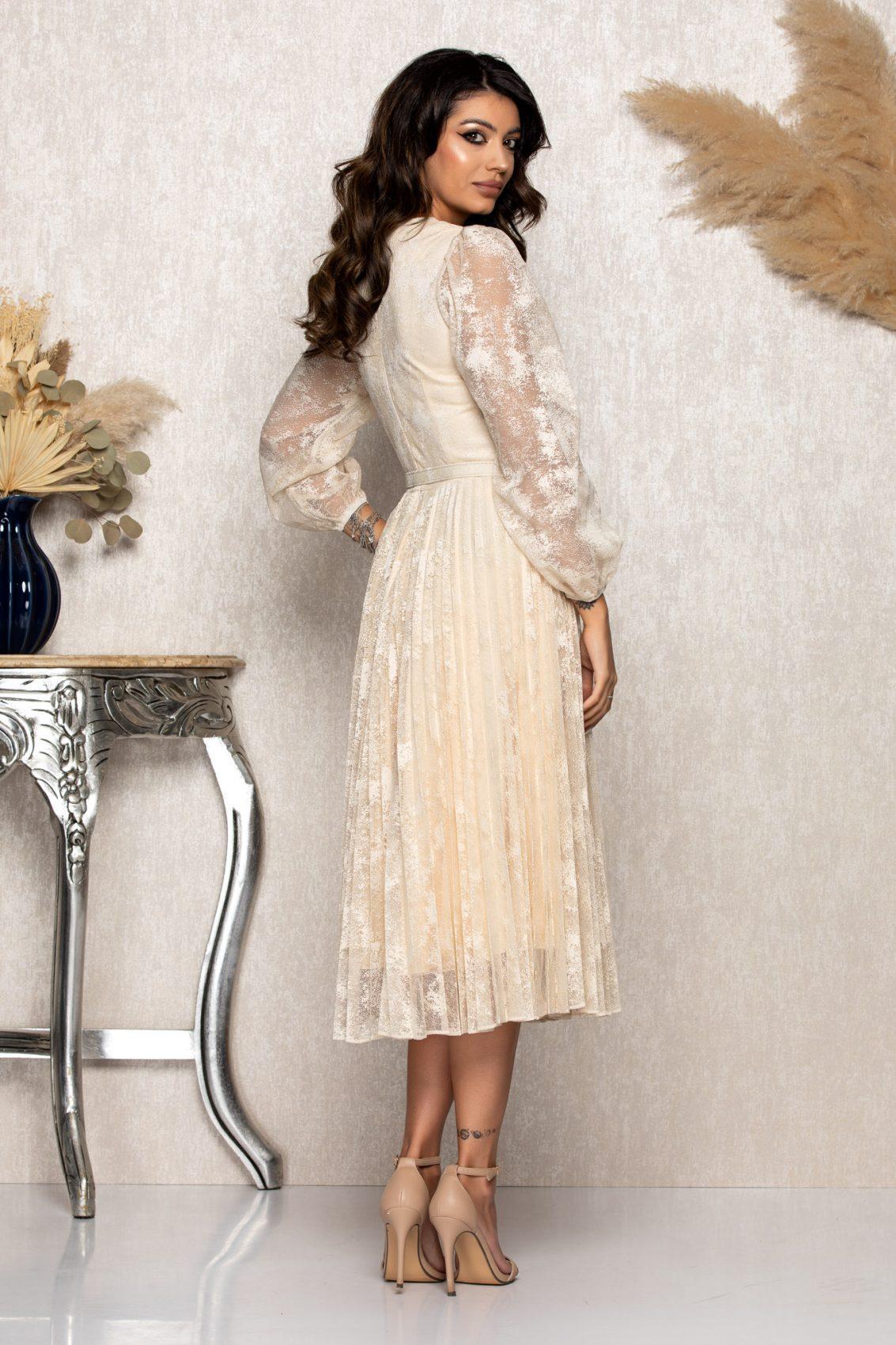 Nude Μίντι Βραδινό Φόρεμα Από Δαντέλα Genoveva B118 2
