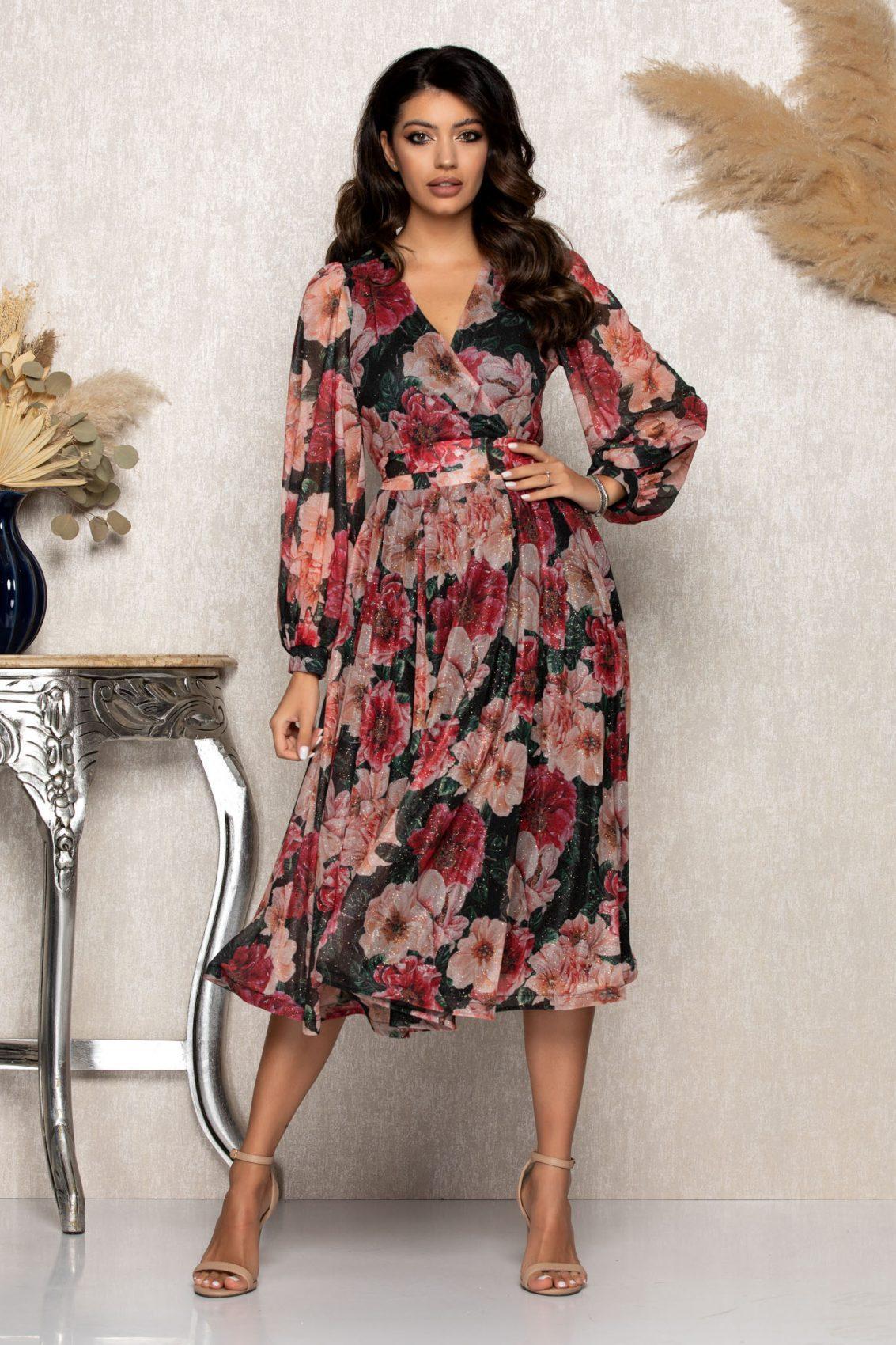 Μίντι Φλοράλ Βραδινό Φόρεμα Με Γκλίτερ Roza B106 1
