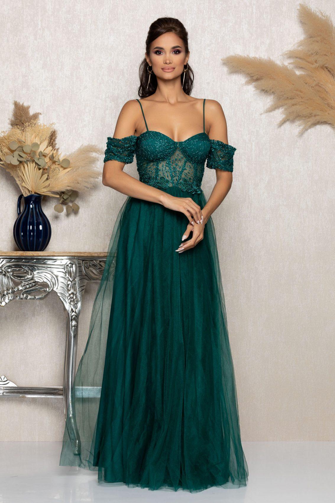 Πράσινο Μάξι Αμπιγιέ Φόρεμα Scarlett A1016 1