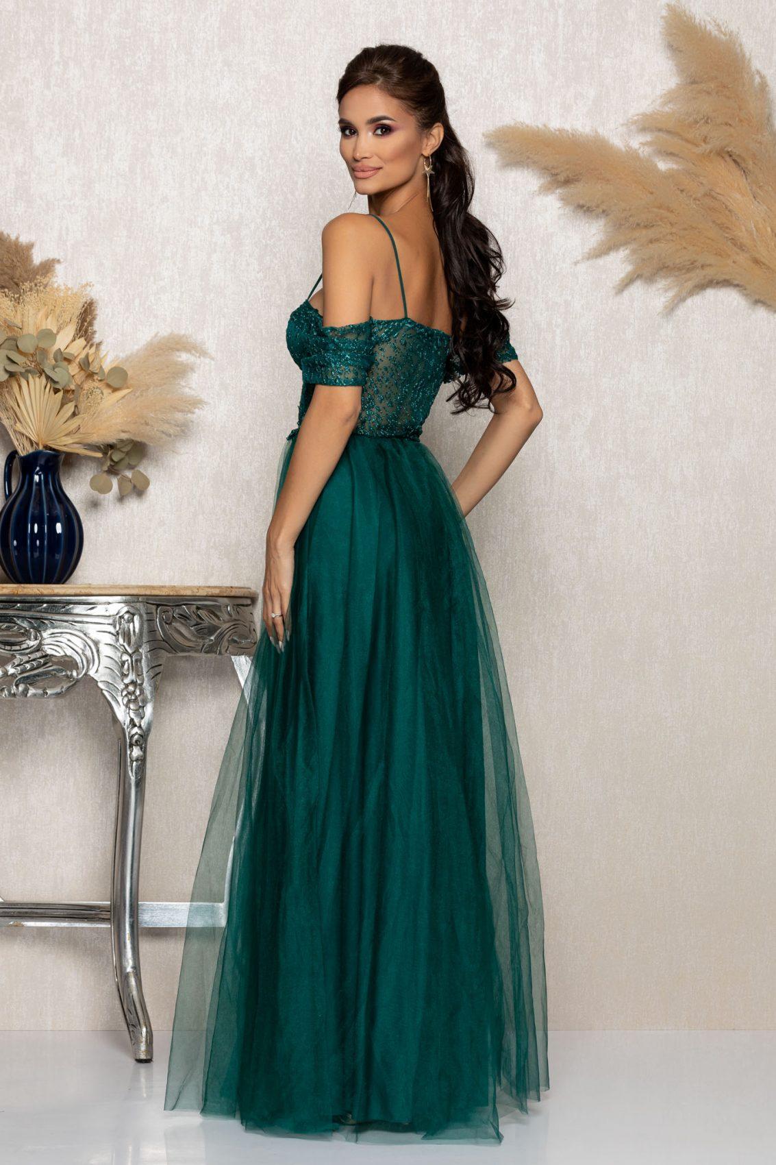 Πράσινο Μάξι Αμπιγιέ Φόρεμα Scarlett A1016 2