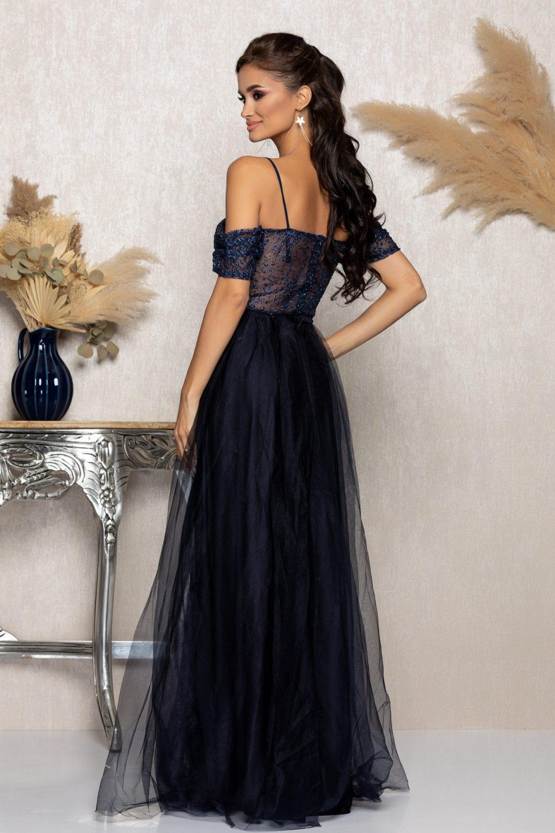 Μπλε Μάξι Αμπιγιέ Φόρεμα Scarlett A1018 2