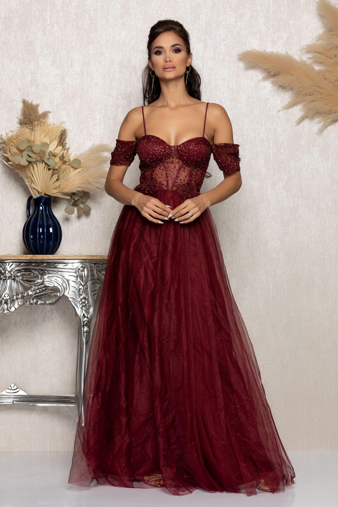 Μπορντό Μάξι Αμπιγιέ Φόρεμα Scarlett A1017 1