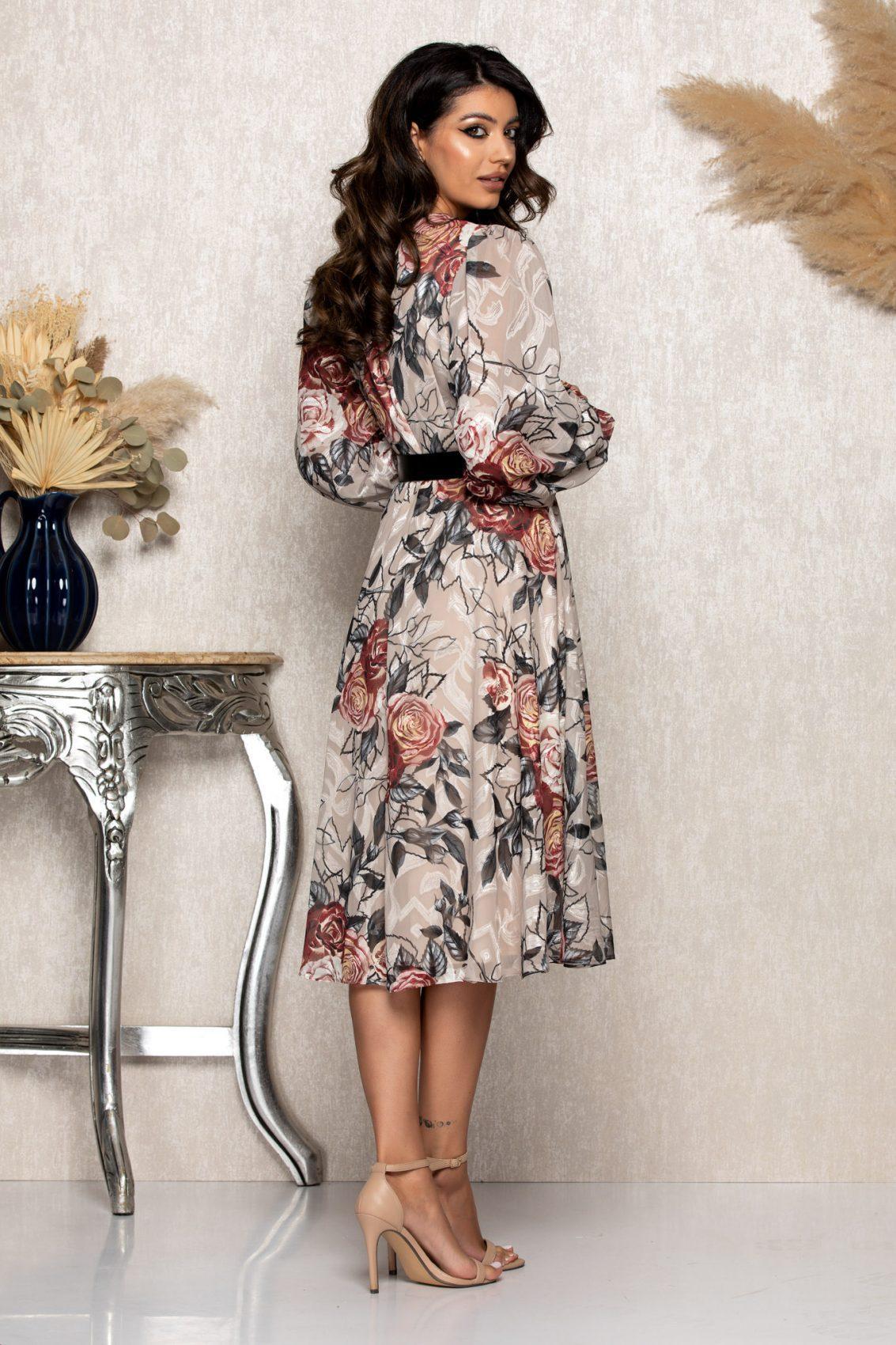 Nude Μίντι Φλοράλ Βραδινό Φόρεμα Andra B107 2