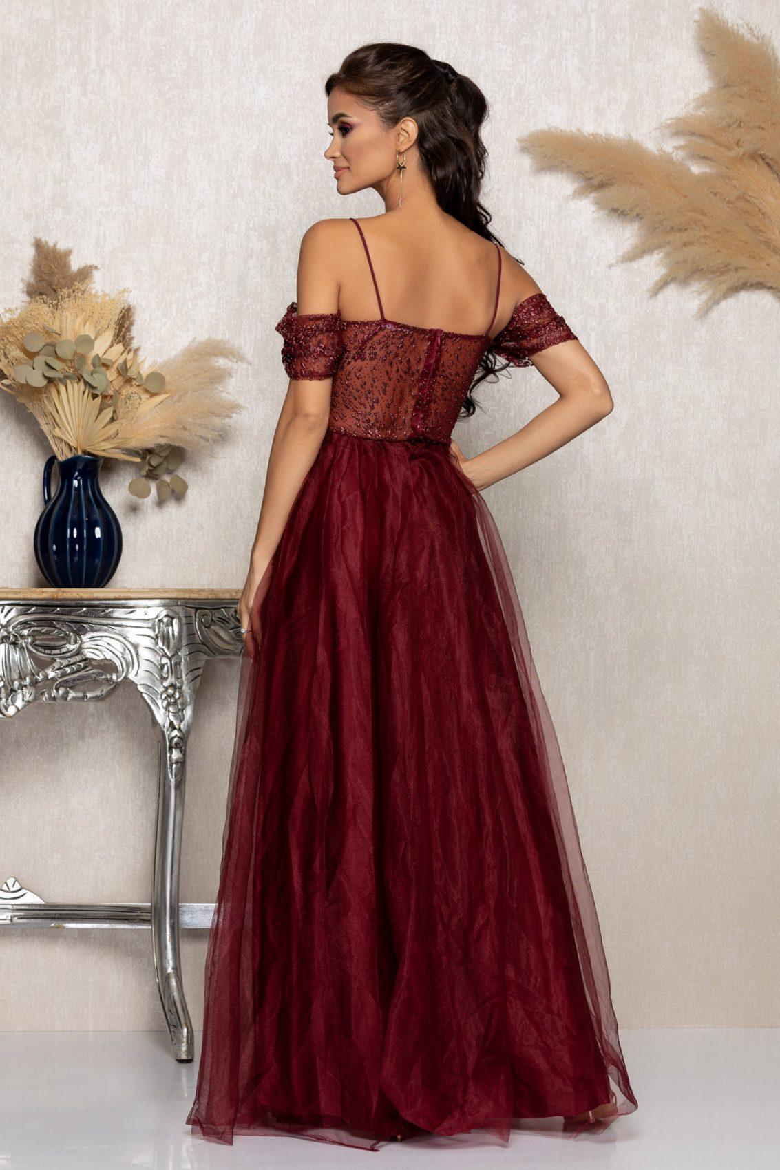 Μπορντό Μάξι Αμπιγιέ Φόρεμα Scarlett A1017 2