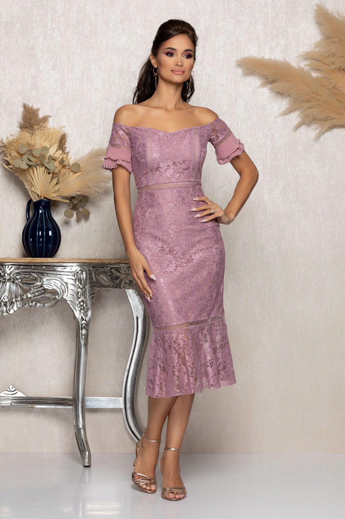 Λιλά Μίντι Βραδινό Φόρεμα Από Δαντέλα Darla A1136 1