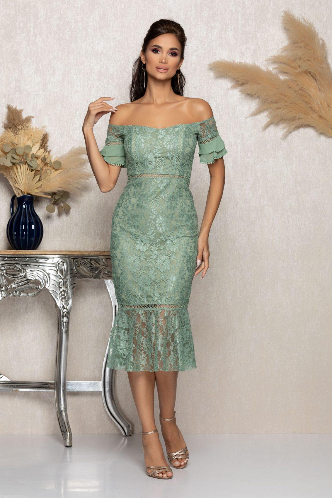 Βεραμάν Μίντι Βραδινό Φόρεμα Από Δαντέλα Darla A1138 1